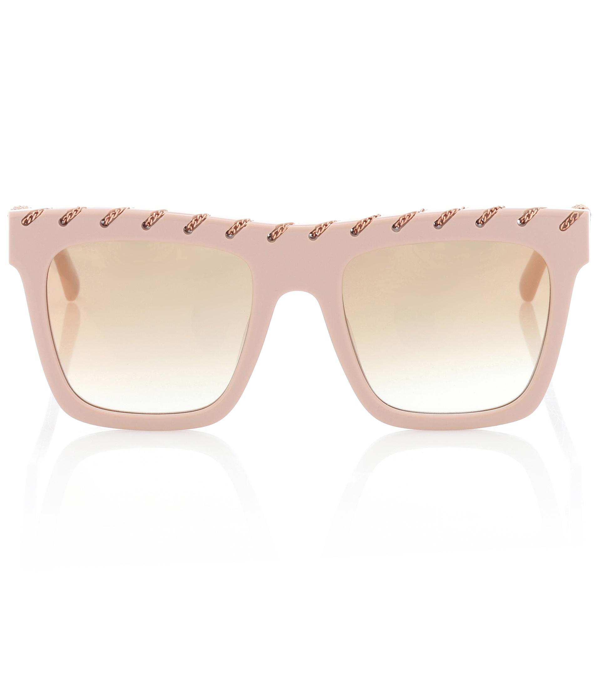 8a1c763d004 Stella McCartney Chain-trimmed Sunglasses in Pink - Lyst