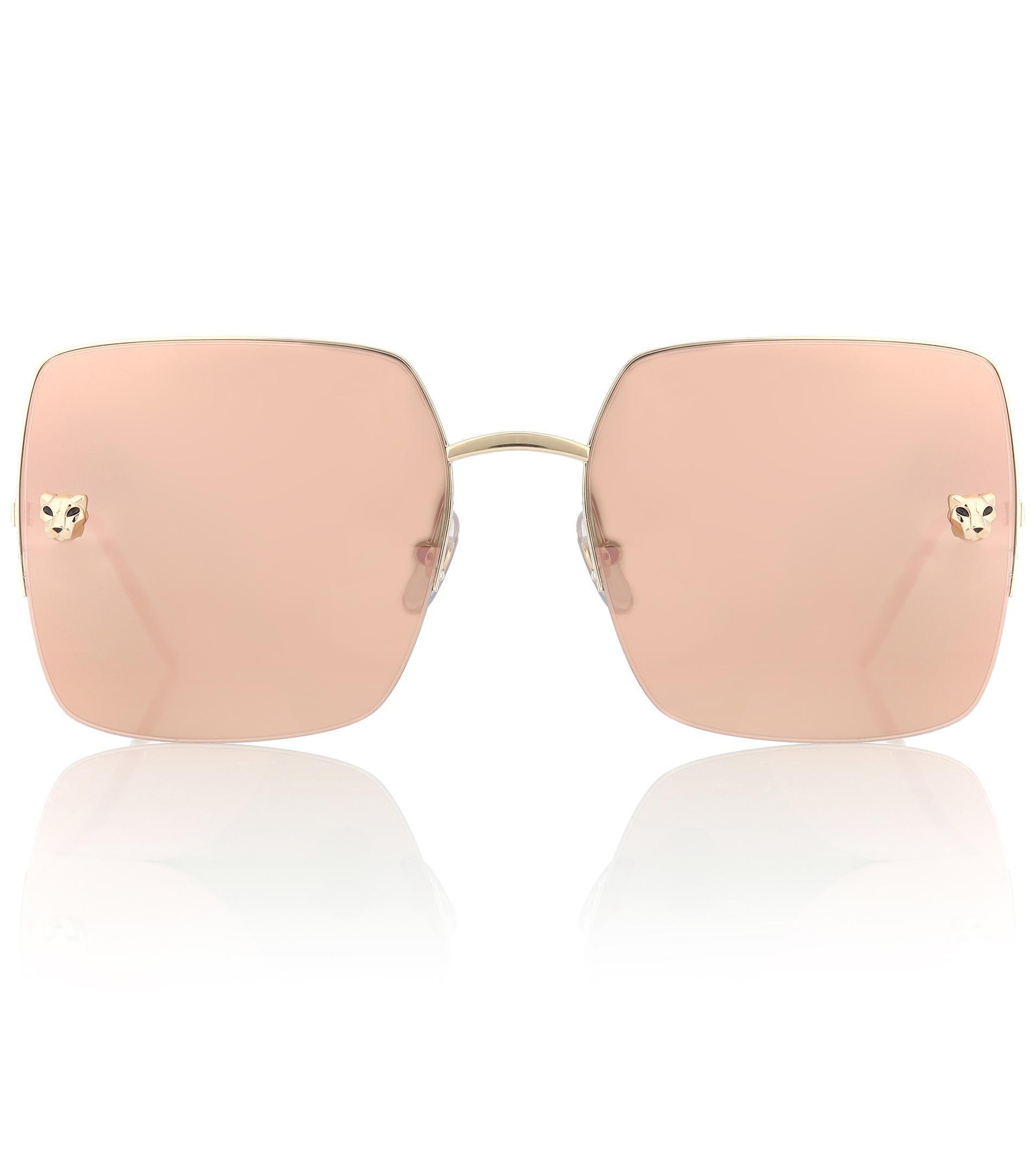 ce3d1d010f86d Cartier Panthère De Cartier Square Sunglasses in Metallic - Lyst