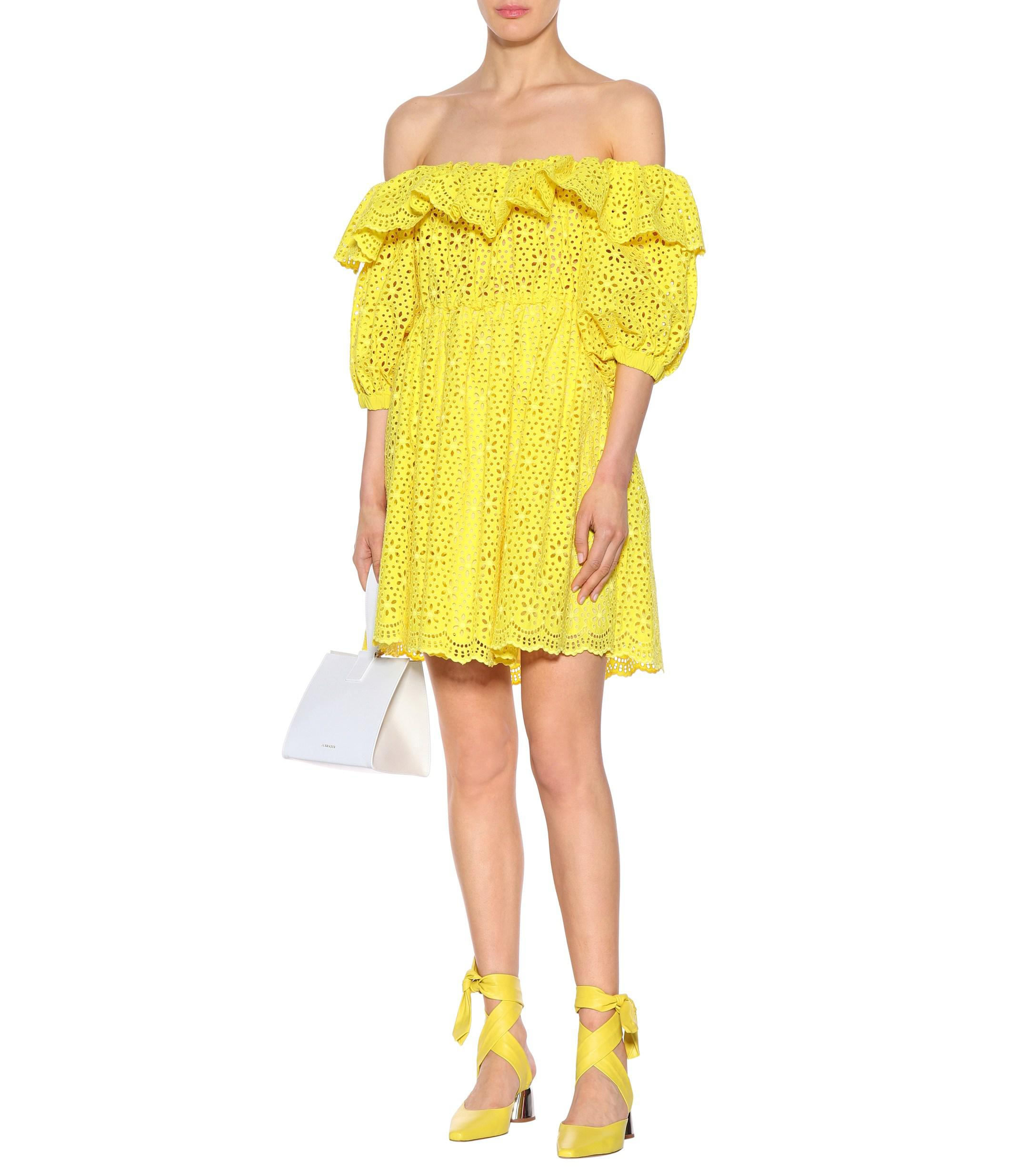 82f5ad699858 MSGM - Yellow Off-the-shoulder Cotton Dress - Lyst. View fullscreen