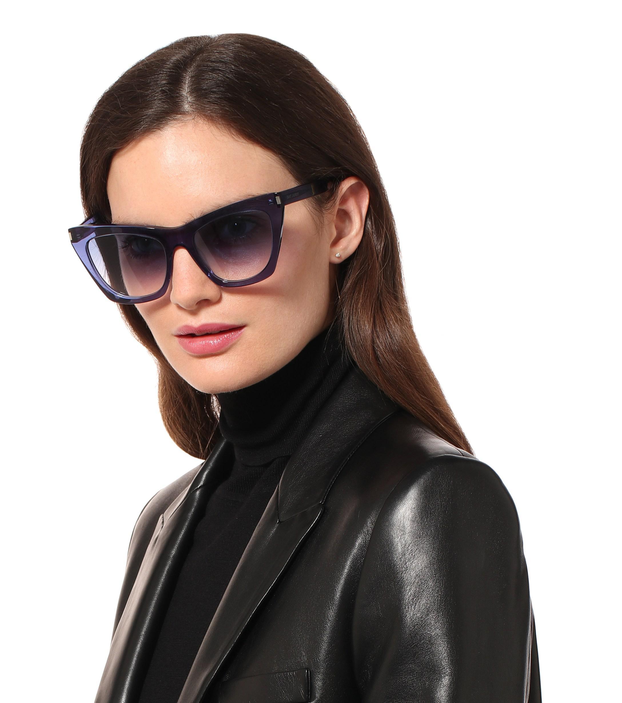 9c7f8185f9e Saint Laurent - Blue Kate Cat-eye Sunglasses - Lyst. View fullscreen