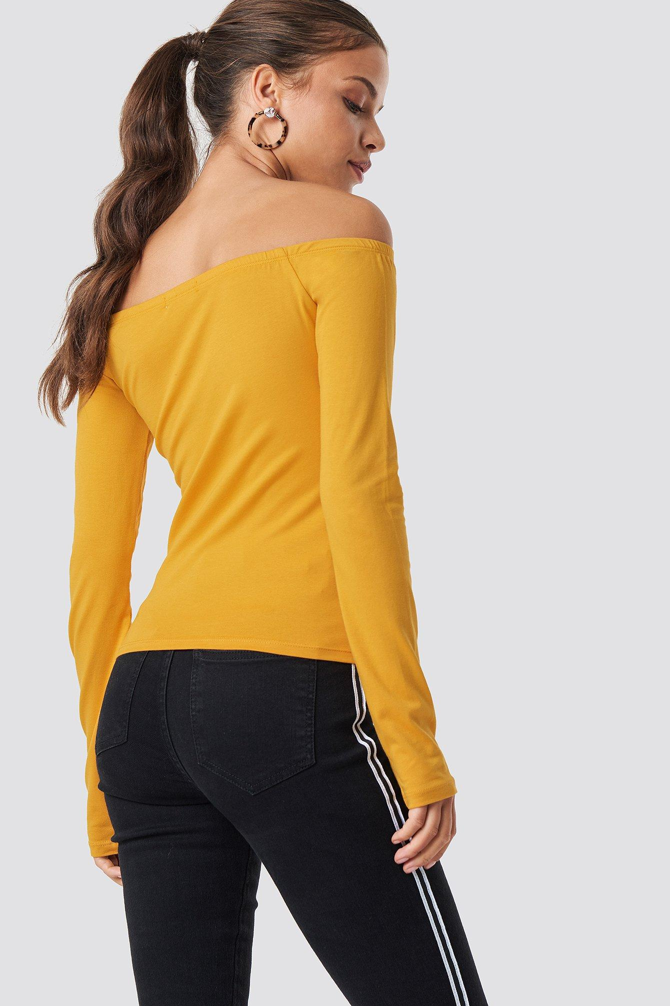 a5c2e2f0a5a NA-KD Long Sleeve Off Shoulder Top Yellow - Lyst