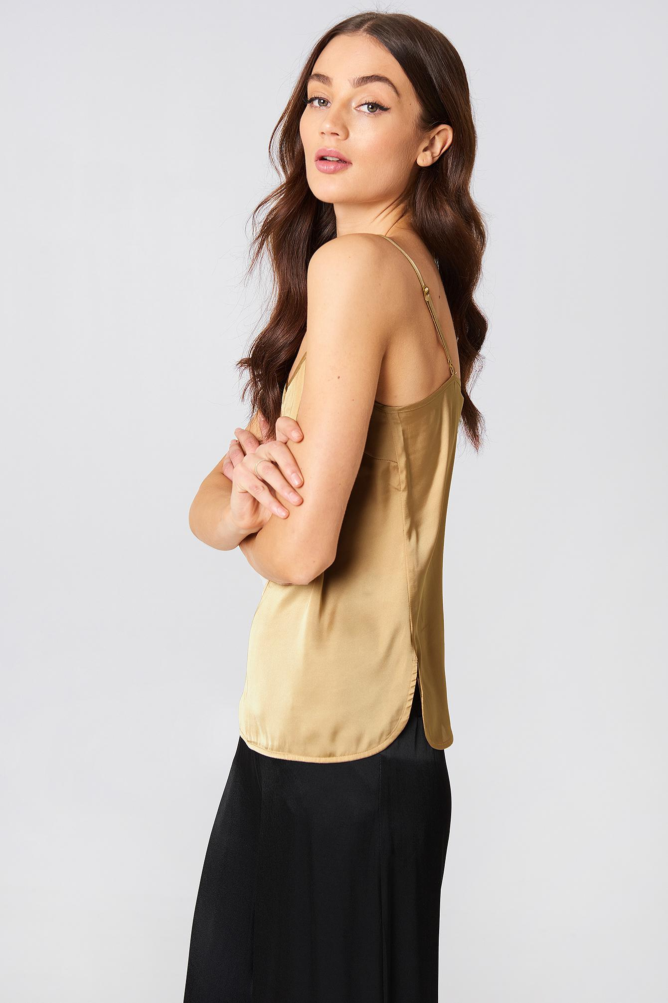 53896959d43a40 Lyst - NA-KD Chiffon Detailed Singlet Gold in Metallic - Save ...