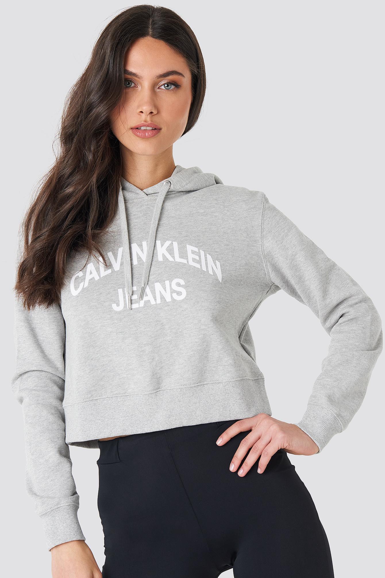 87fafe779ef2f Lyst - Calvin Klein Curved Logo Crop Hoodie Light Grey Heather in Gray