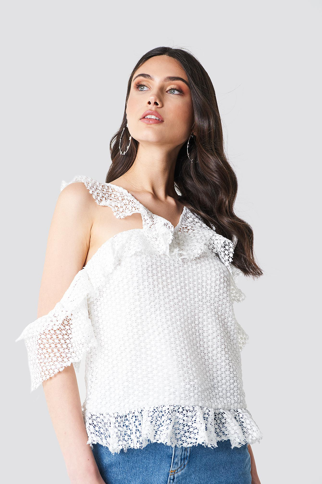 295c5e57a3455 NA-KD Double Frill Sleeve Top White in White - Lyst