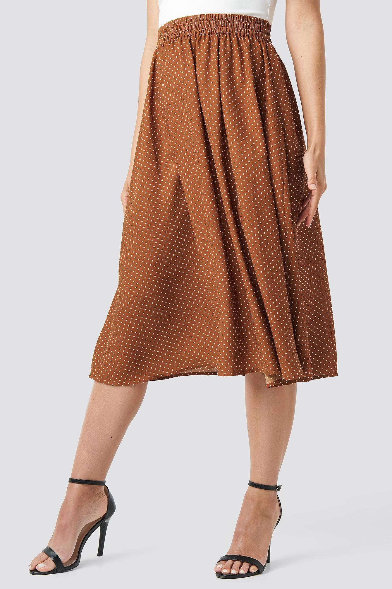 9f9464ef41 NA-KD - Dotted Midi Skirt Brown - Lyst. View fullscreen