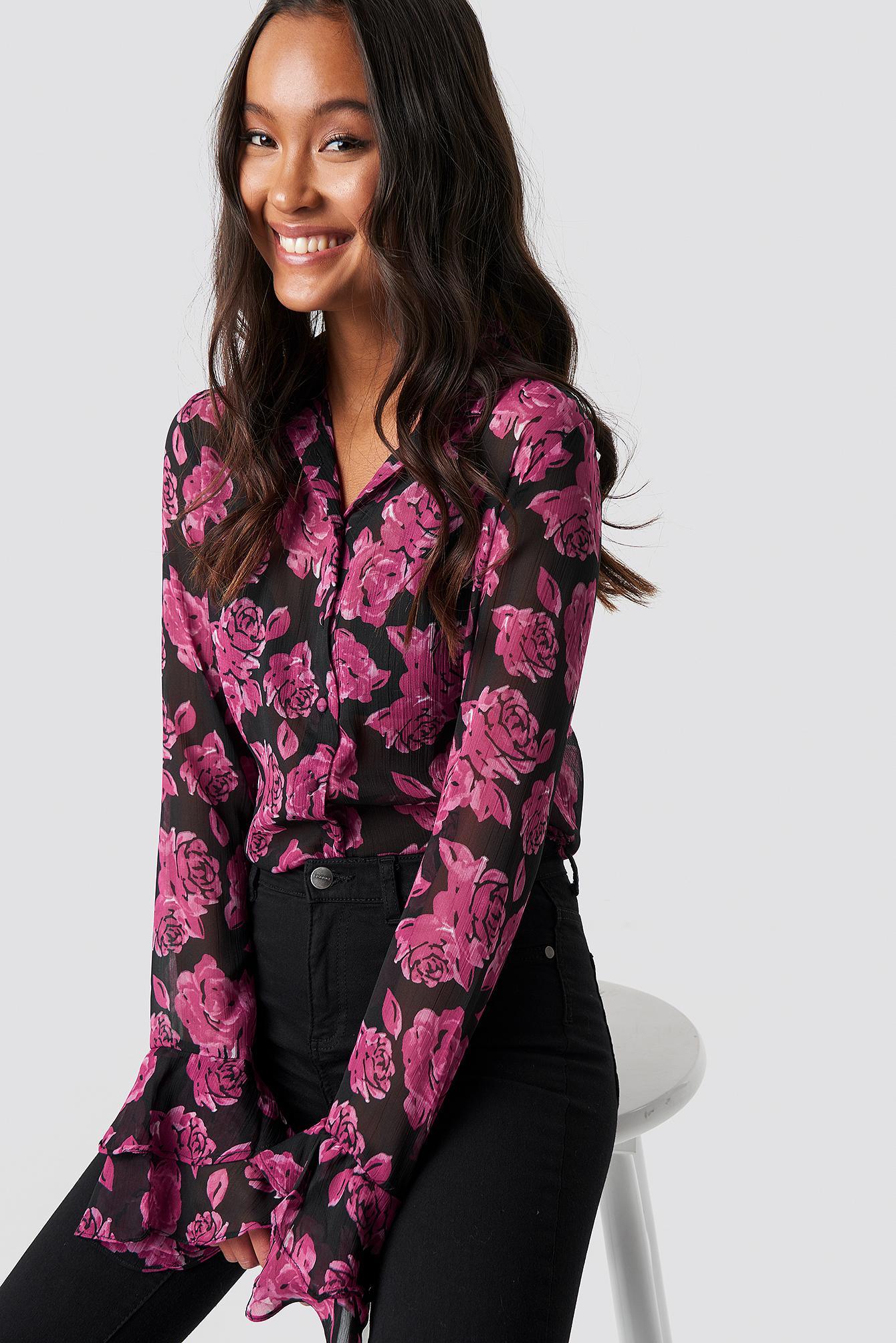 068a016ff5a NA-KD. Women's Chiffon Frill Sleeve Shirt Burgundy Roses