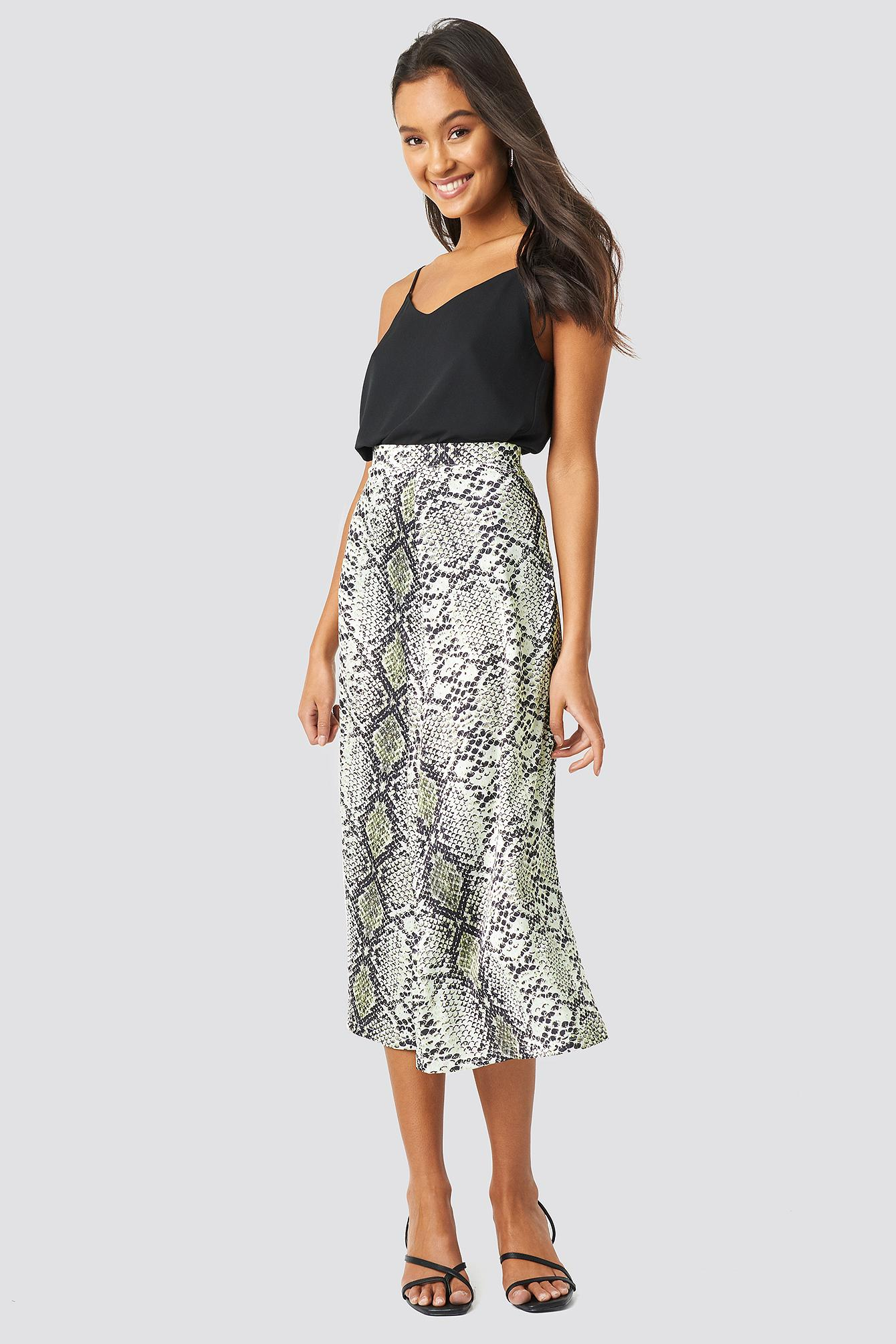 827aed1581 Trendyol Snake Patterned Skirt Gray in Gray - Lyst