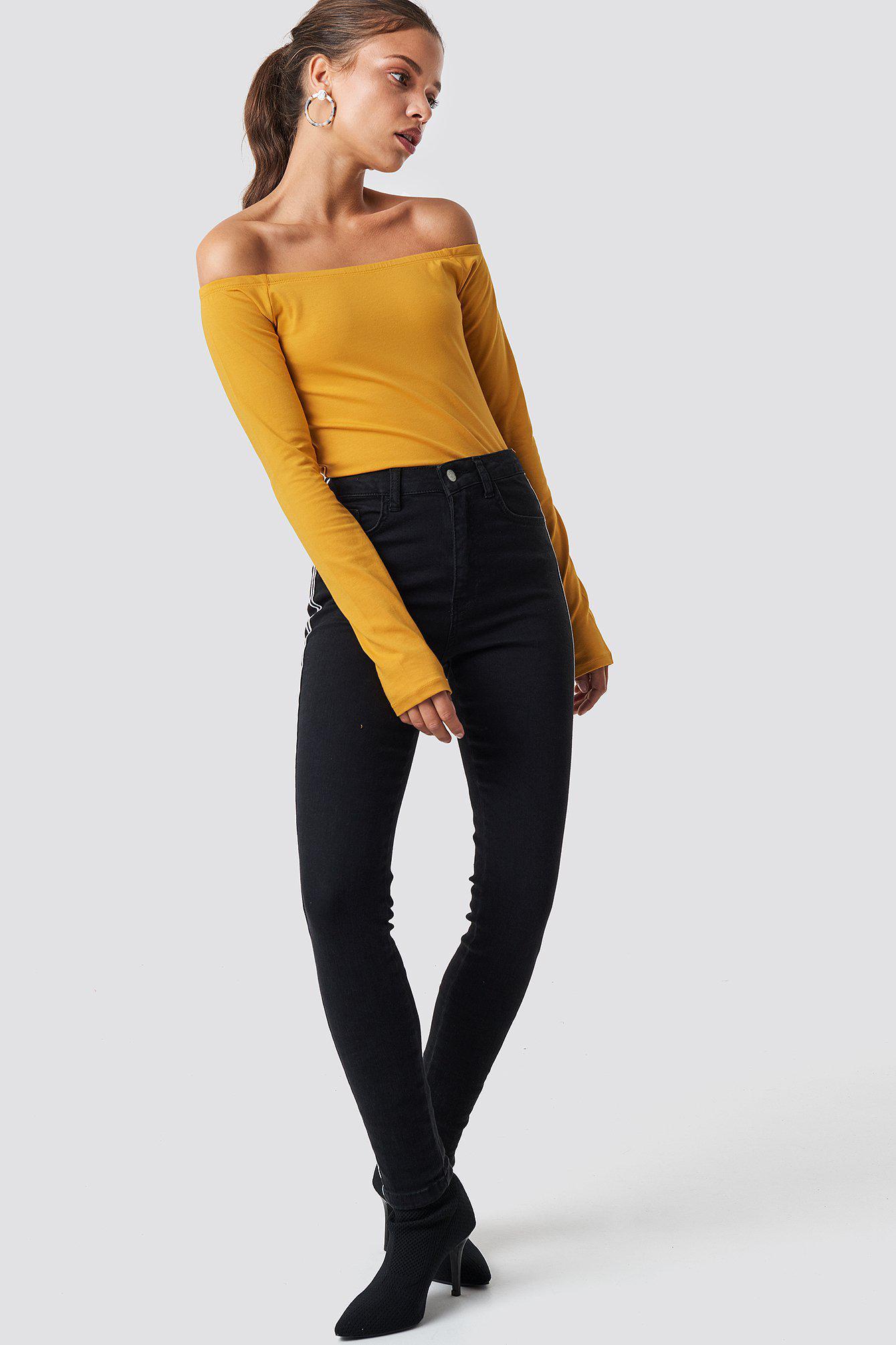 d71311438589c NA-KD - Multicolor Long Sleeve Off Shoulder Top Mustard - Lyst. View  fullscreen