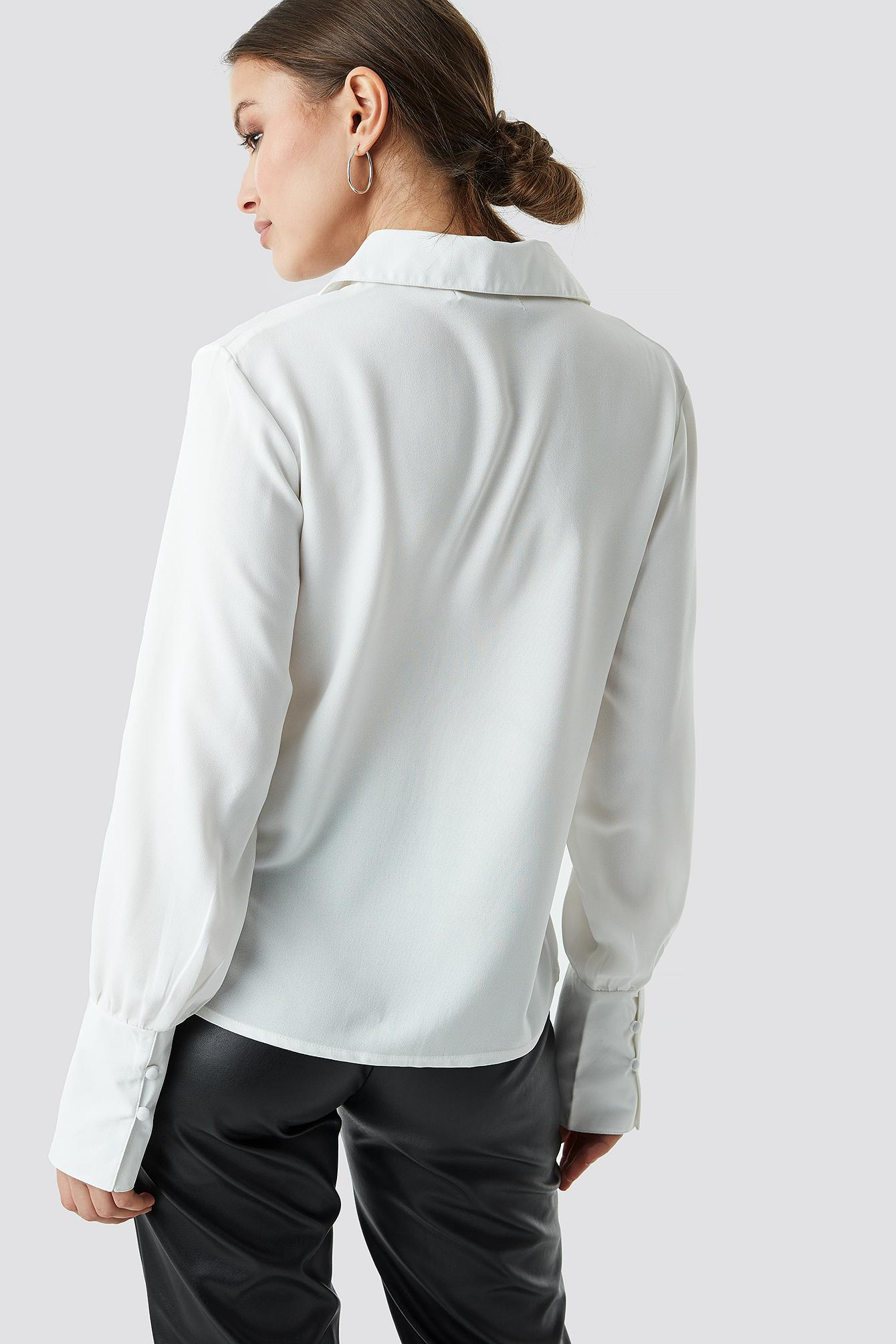 026c070e5ba872 Lyst - Na-Kd Button Detailed Blouse Offwhite