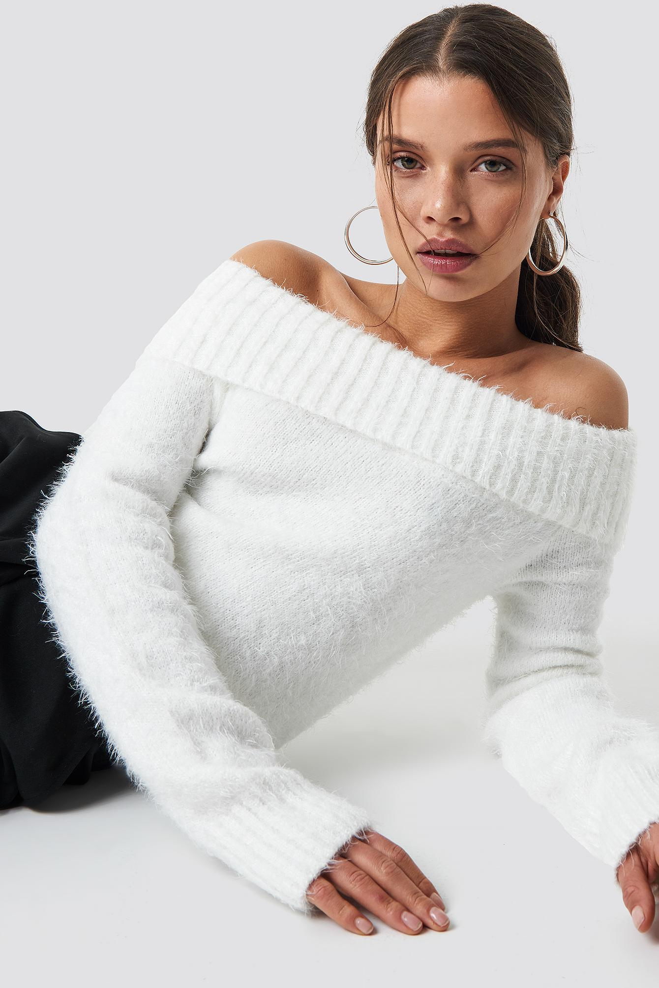 3fbce383397c Lyst - NA-KD Fluffy Off Shoulder Knit White in White
