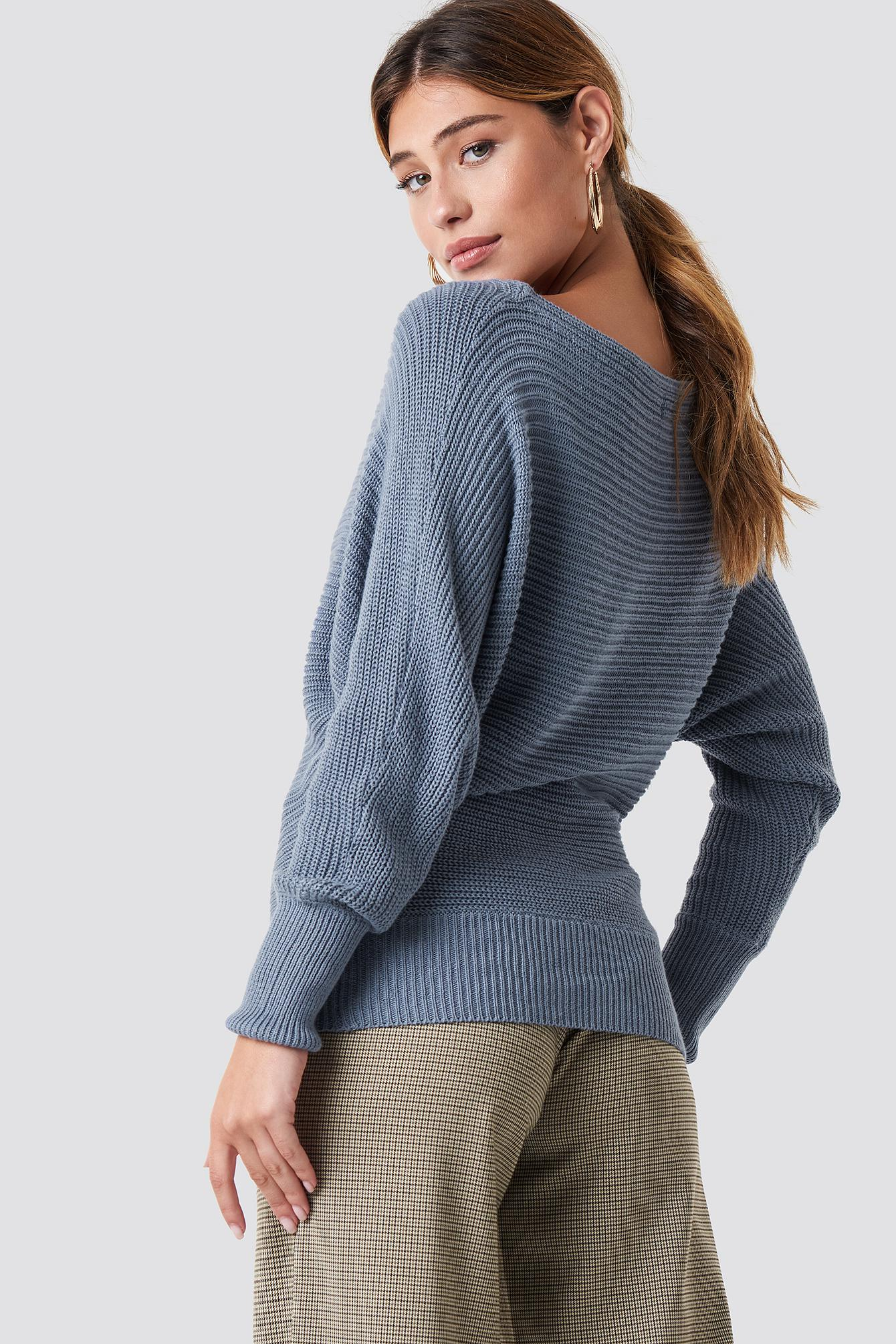 7c99009258 ... Off Shoulder Knitted Sweater Stone Blue - Lyst. View fullscreen