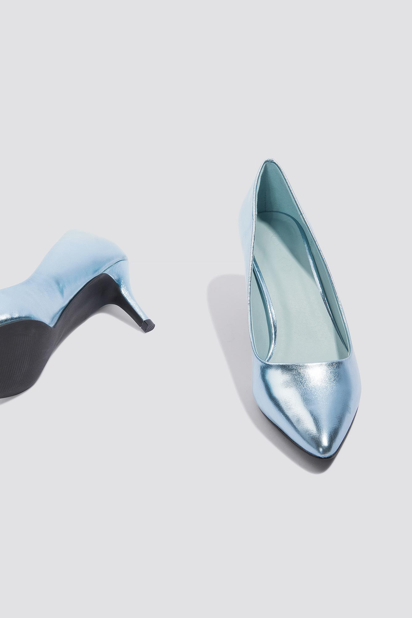237d869838e Lyst - NA-KD Metallic Mid Heel Pumps Ice Blue in Blue