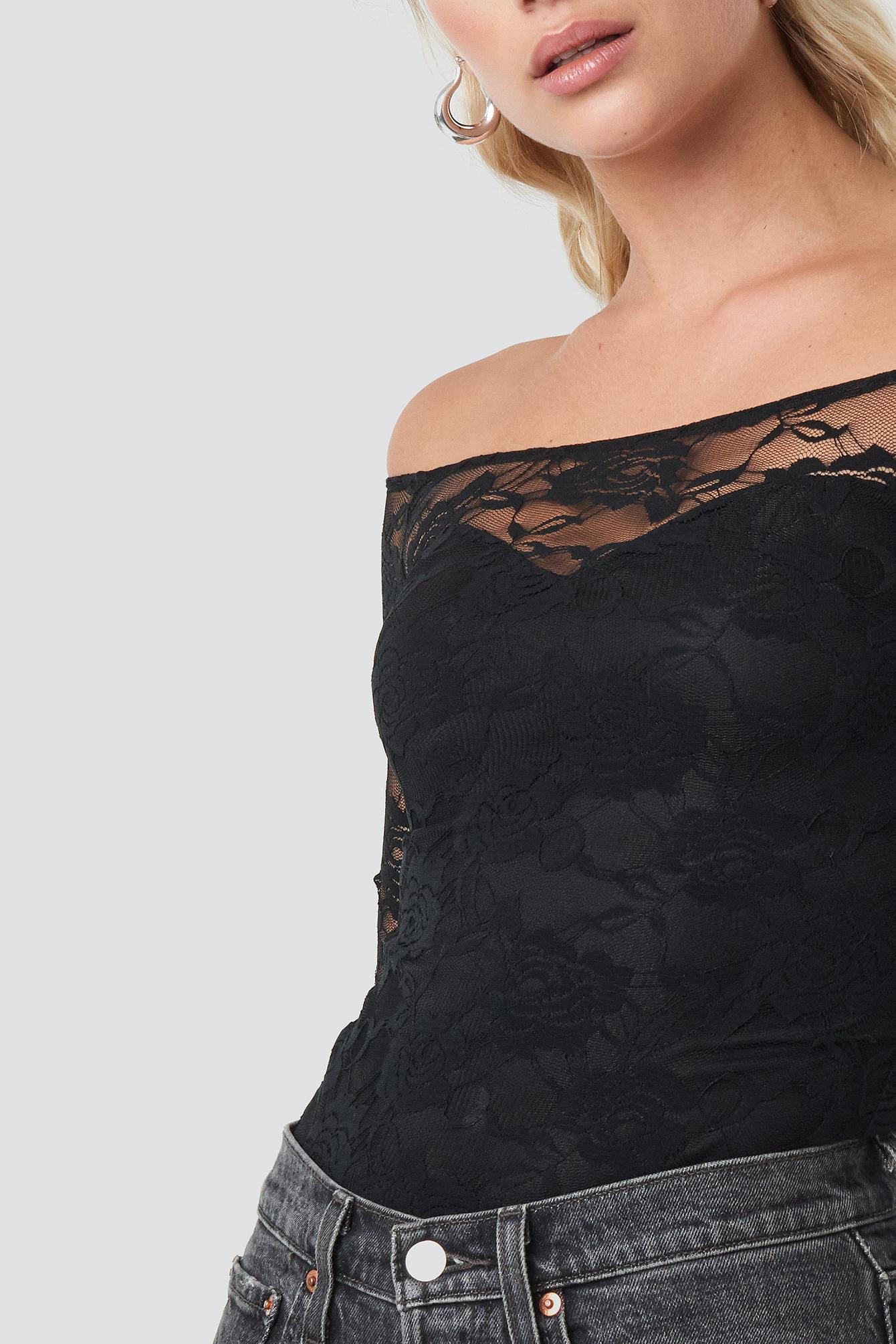 155827036f4 NA-KD - Off Shoulder Fitted Lace Top Black - Lyst. View fullscreen