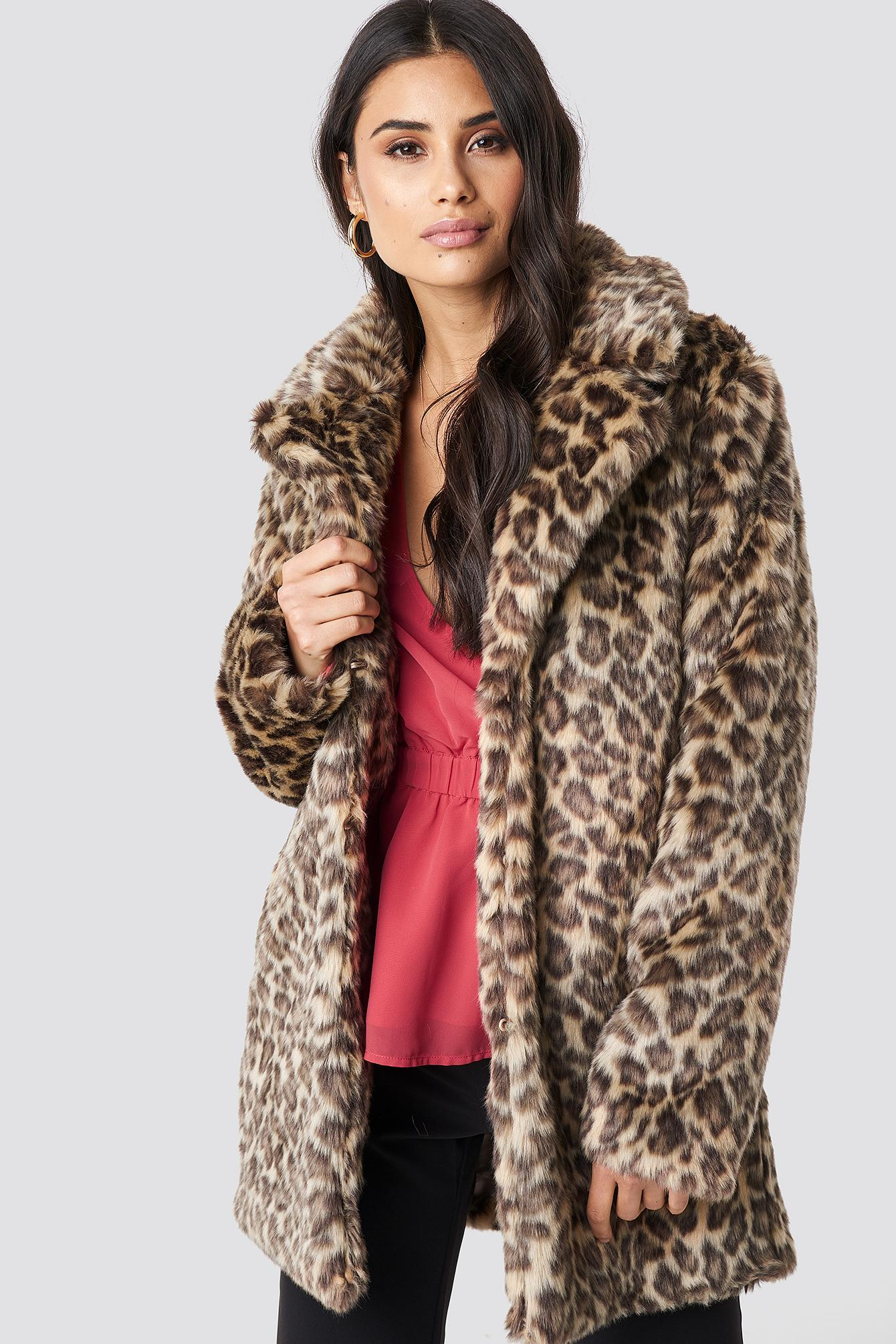 3d6e77a50aac Lyst - Na-Kd Fluffy Leo Jacket Leopard