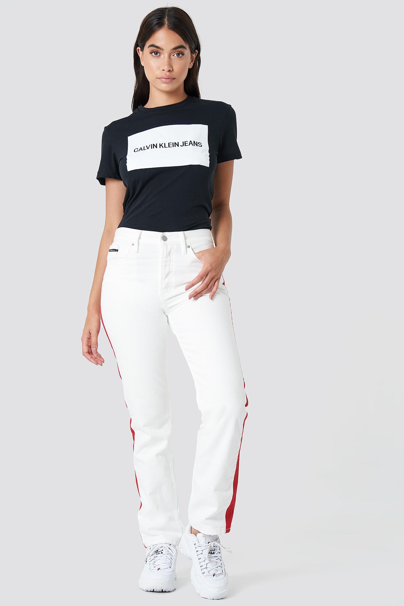 04c02df3546f Calvin Klein Institutional Box Logo Regular Fit Tee Ck Black in ...