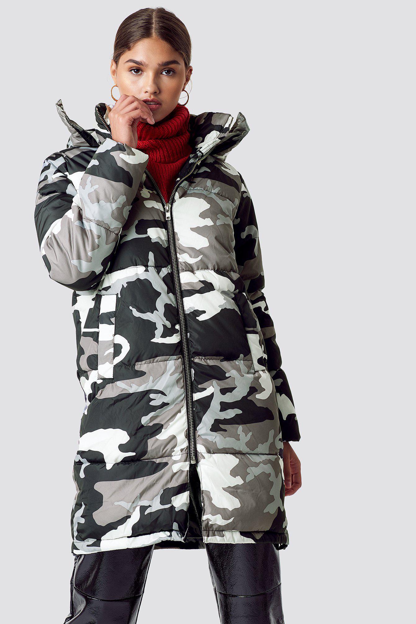 eb3c67fcfc11f NA-KD Long Camo Padded Jacket Camo/grey in Gray - Lyst