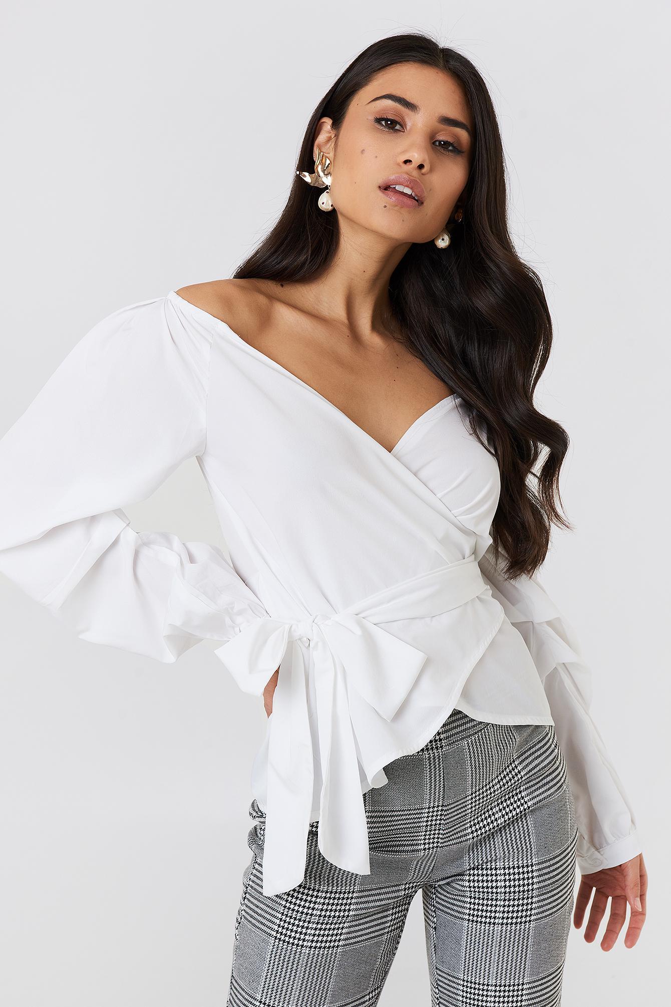60e4bc67752f72 NA-KD Slip Shoulder Tie Waist Shirt White in White - Lyst