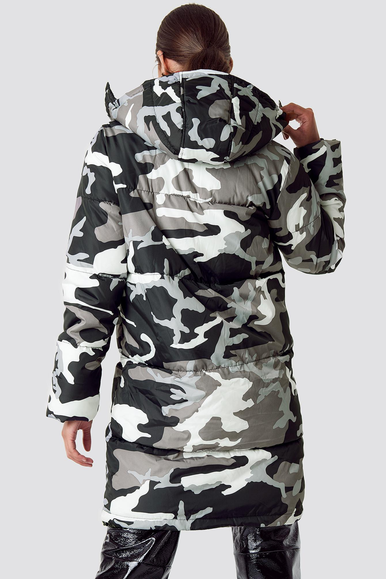 2d161f2baf09e Lyst - NA-KD Long Camo Padded Jacket Camo/grey in Gray