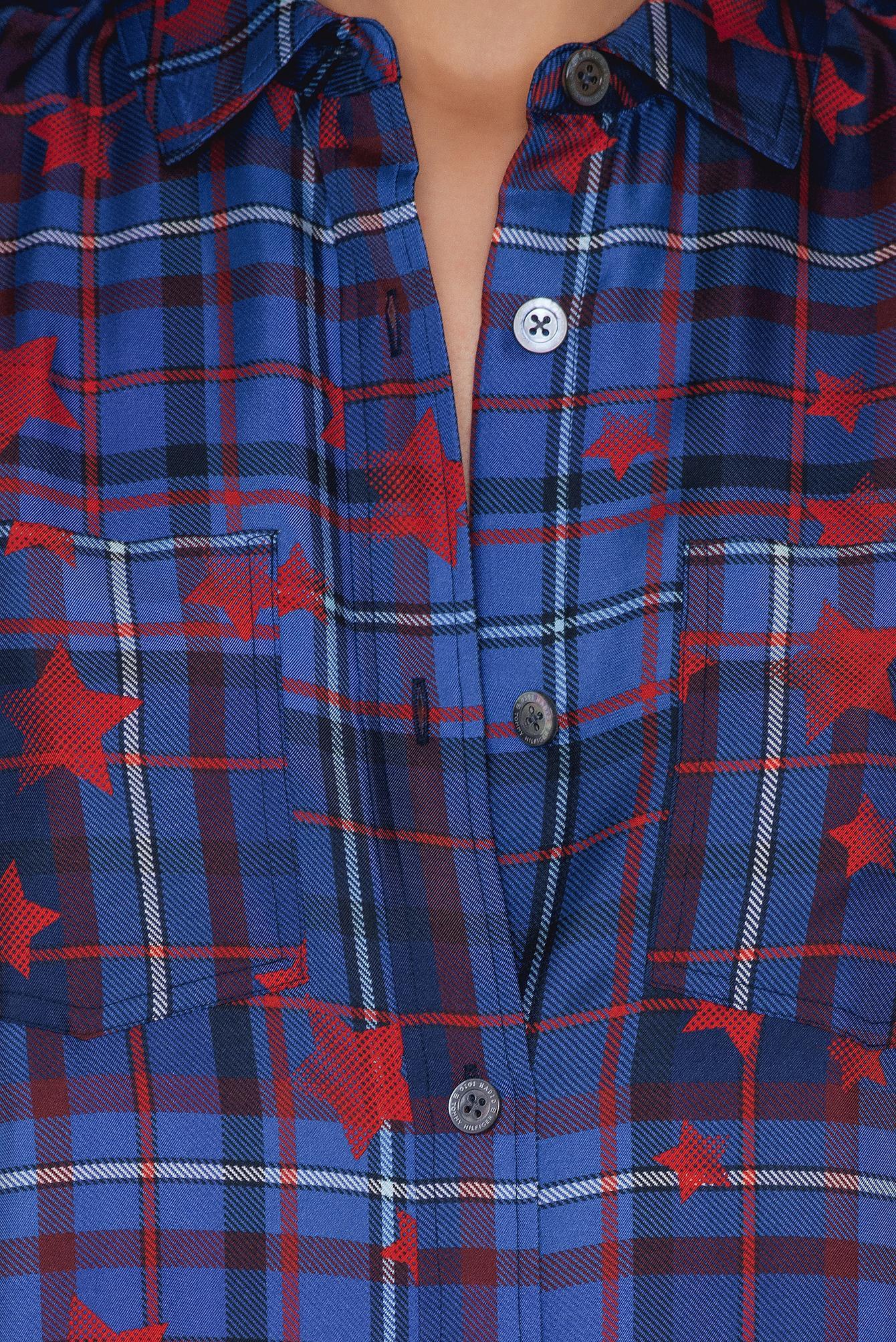 96adb50b22e68a Tommy Hilfiger Gigi Hadid Silk Twill Blouse in Blue - Lyst