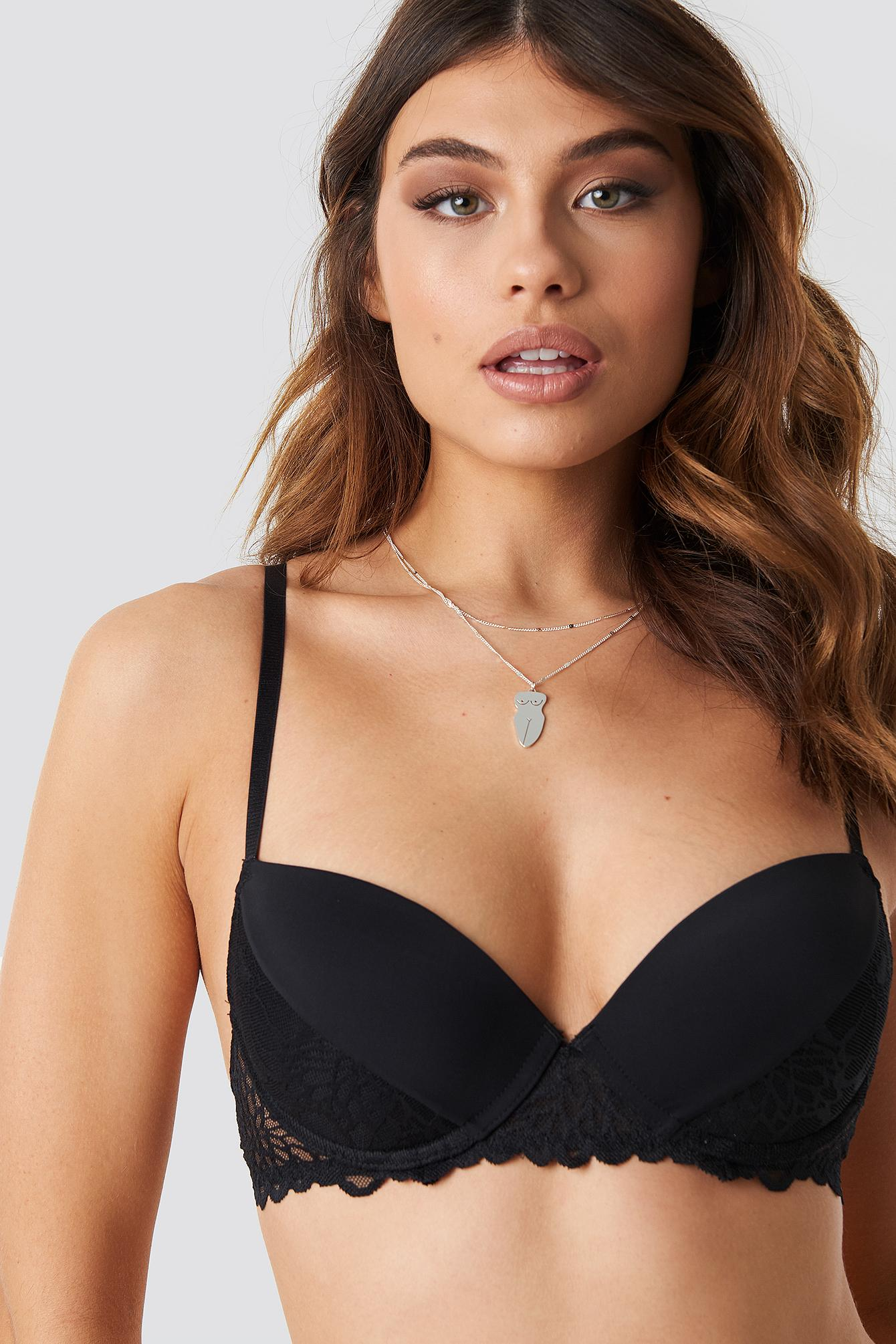 7447bf939f Lyst - Na-Kd Lace Detail Padded Cup Bra Black in Black