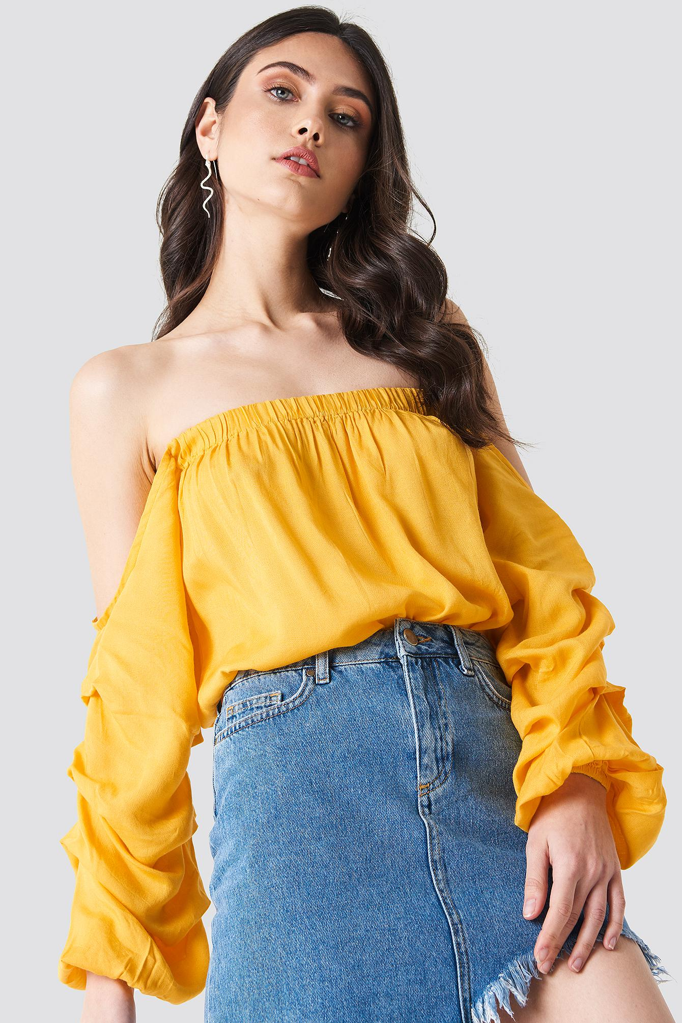44edfefbfbf11 Lyst - NA-KD Off Shoulder Puff Sleeve Top Yellow in Yellow