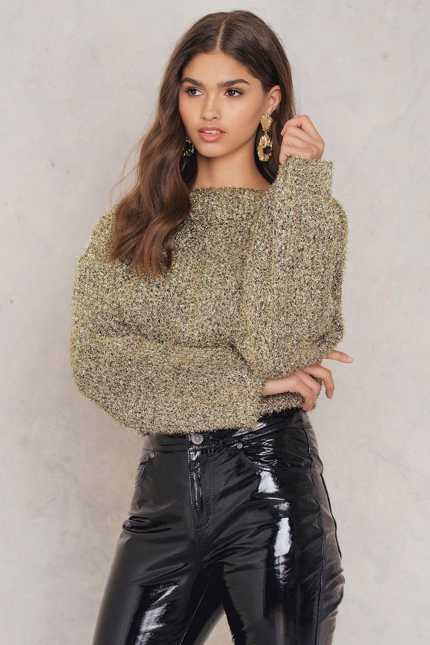 Na kd boat neck glittery knitted sweater in metallic lyst na kd womens metallic boat neck glittery knitted sweater bankloansurffo Images