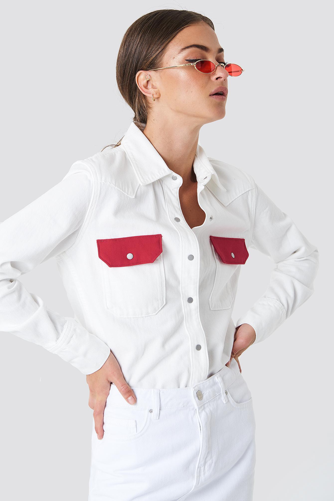 1b85f0a3 Calvin Klein Western Lean Contrast Shirt in White - Lyst