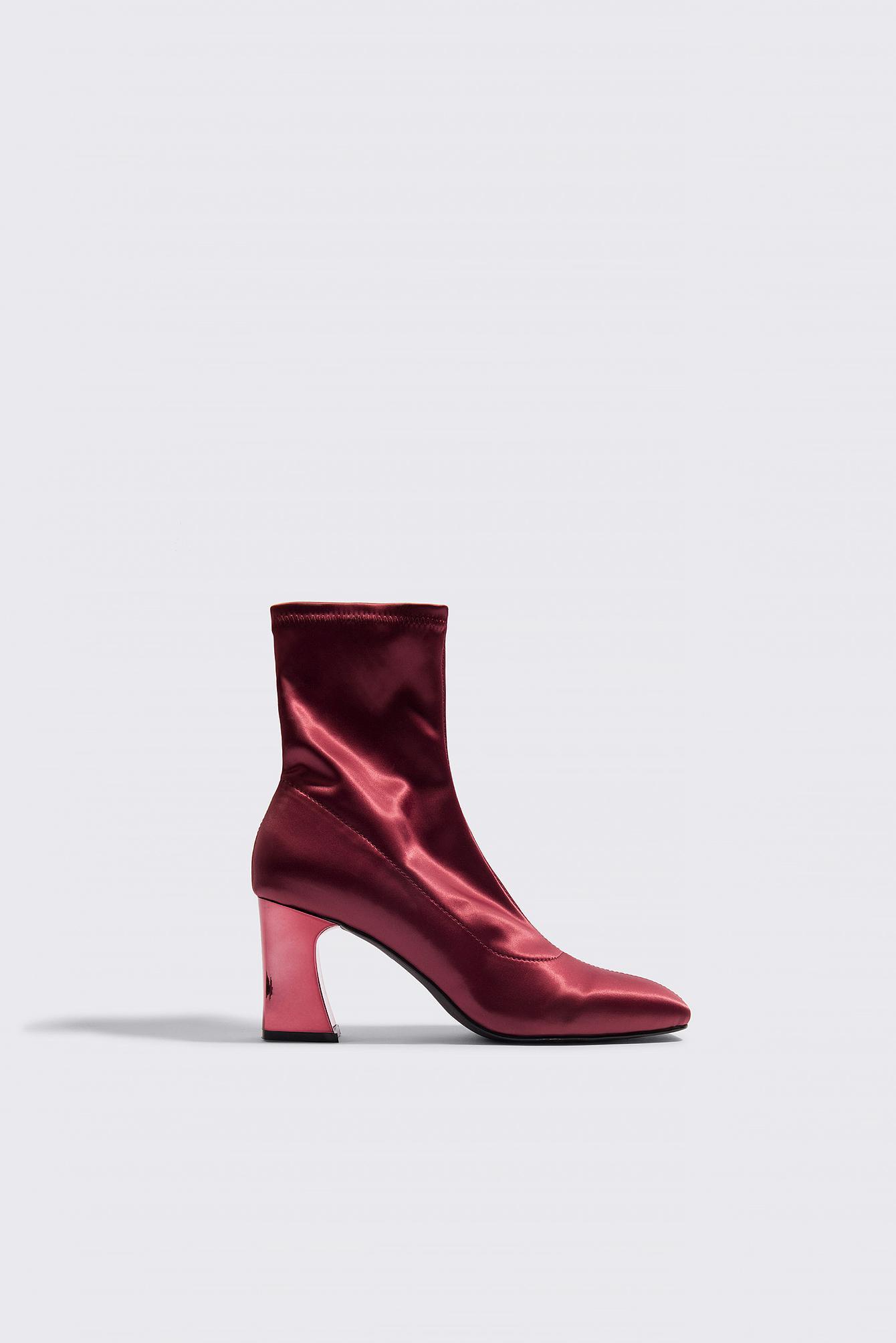 NA-KD Satin Mid Heel Boots - Purple ZZE5A5
