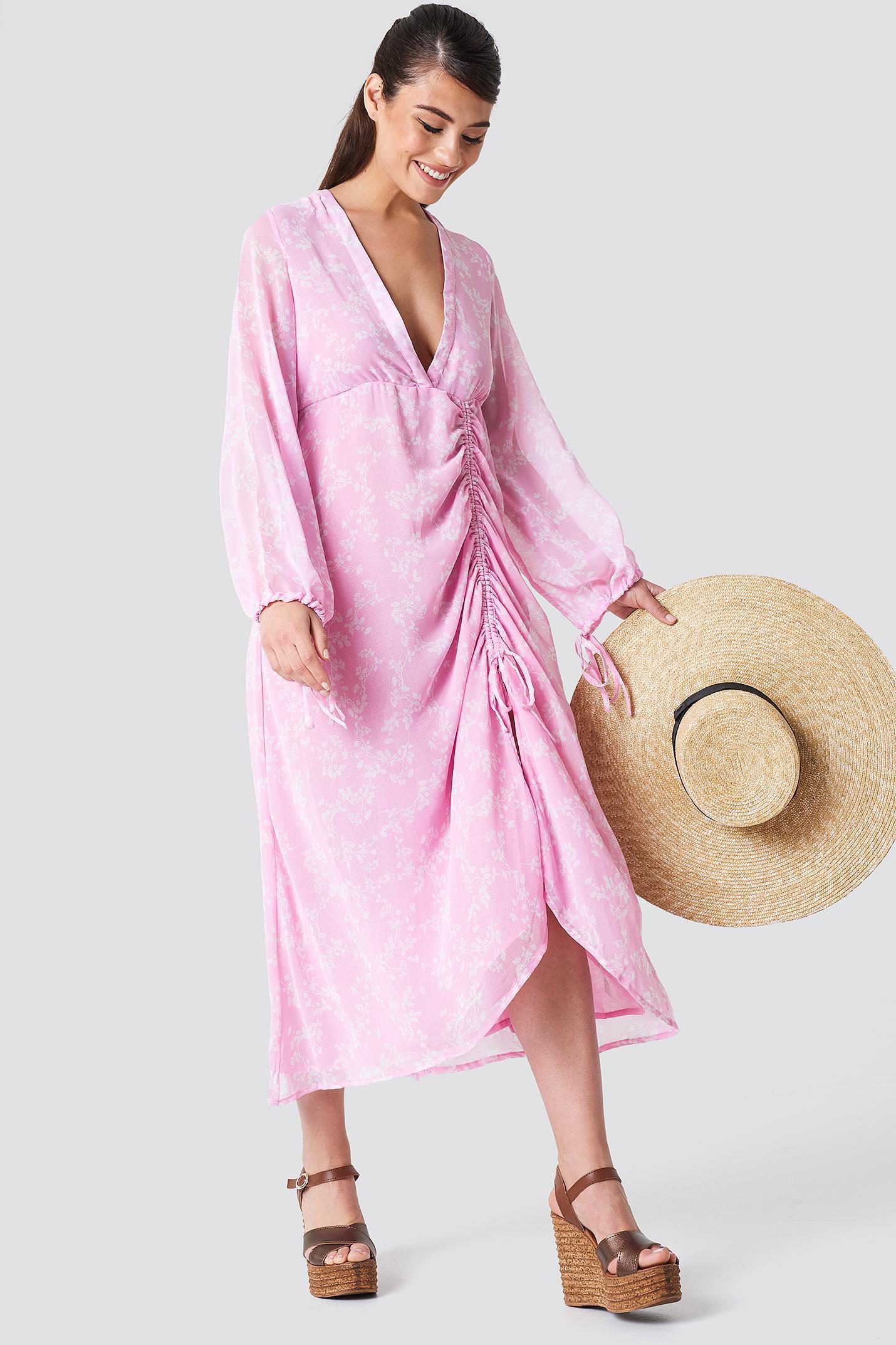 Lyst - Na-Kd Balloon Sleeve Drawstring Maxi Dress Pink white Blossom ... 1dff42f21d