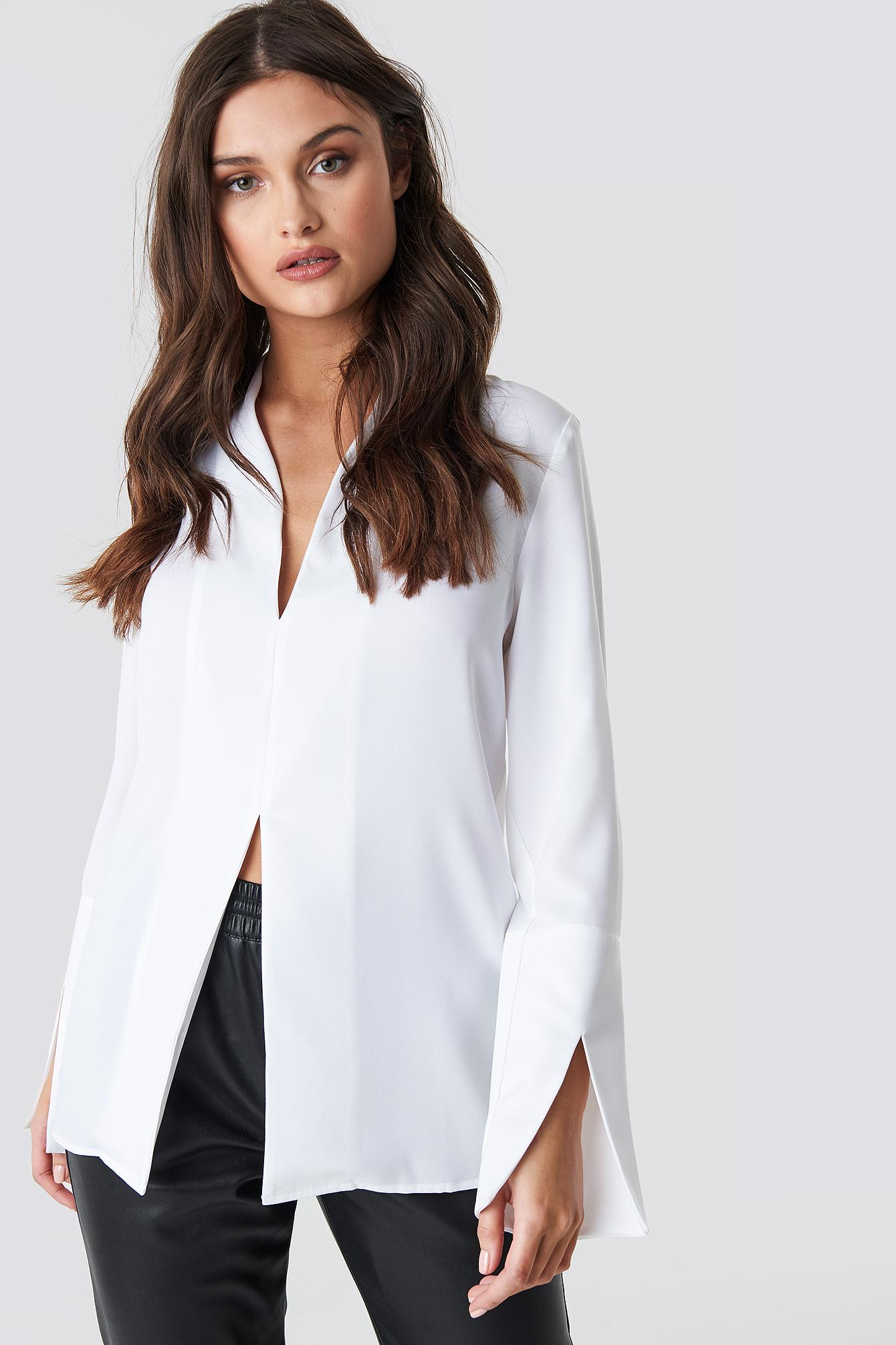 ae2bff75c26f54 NA-KD Wide Cuff Slit Detail Blouse White in White - Lyst