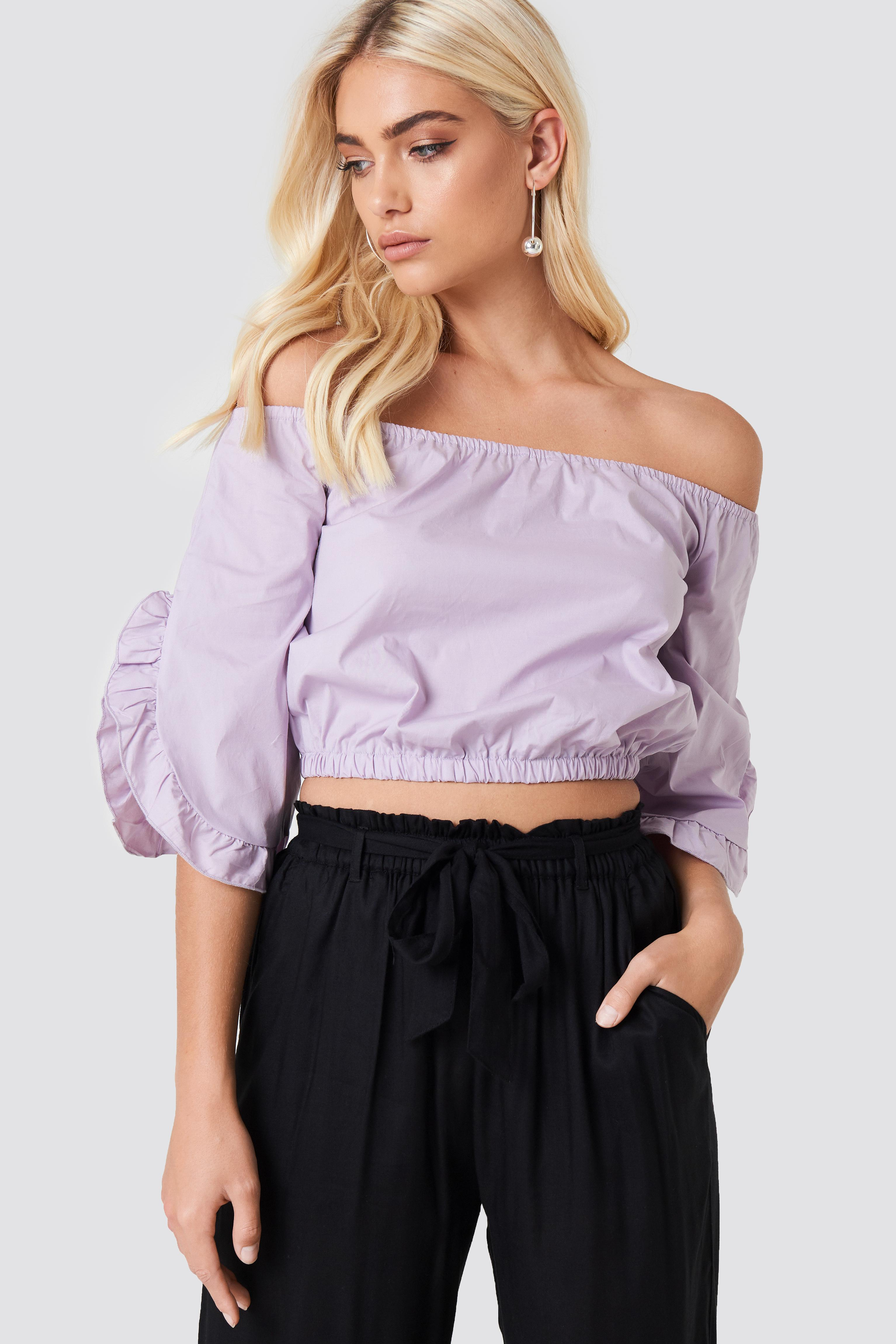 75c46d31e69d8b NA-KD Off Shoulder Flare Frill Top Dusty Lilac in Purple - Lyst