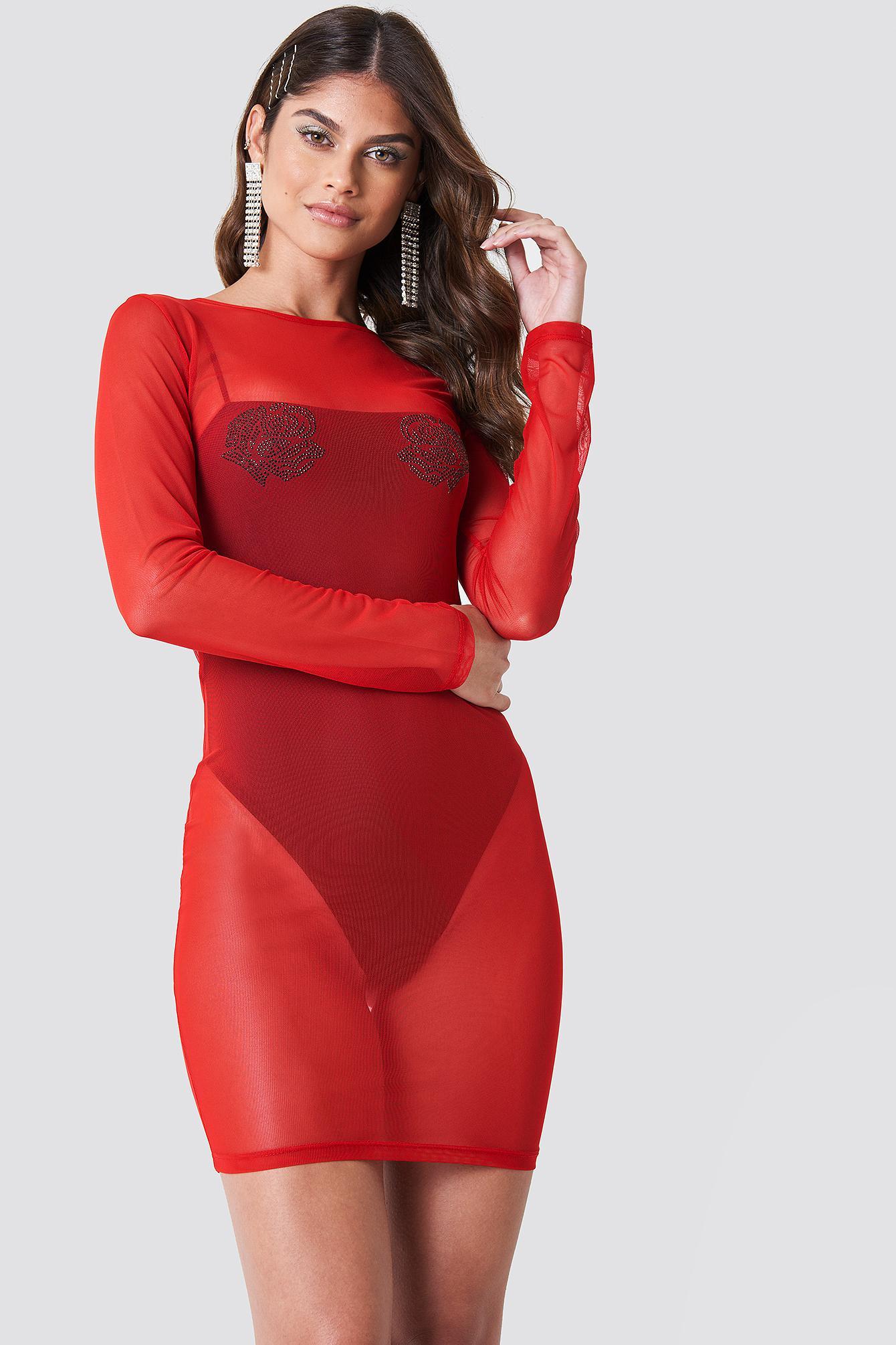 2f9a9231d1263 Lyst - NA-KD Rhinestone Rose Mesh Dress Hot Lips in Red