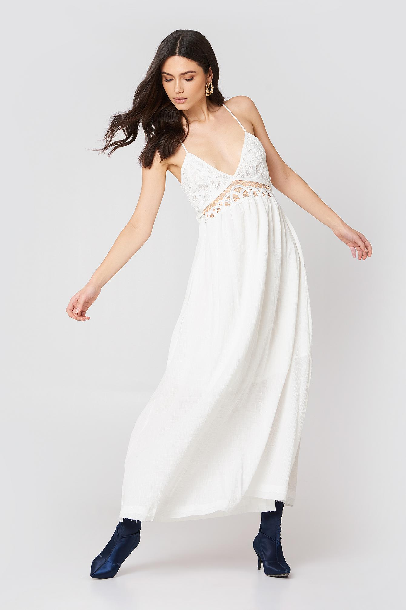 8b52bac808e8 Lyst - Moon River Lace Maxi Dress in White