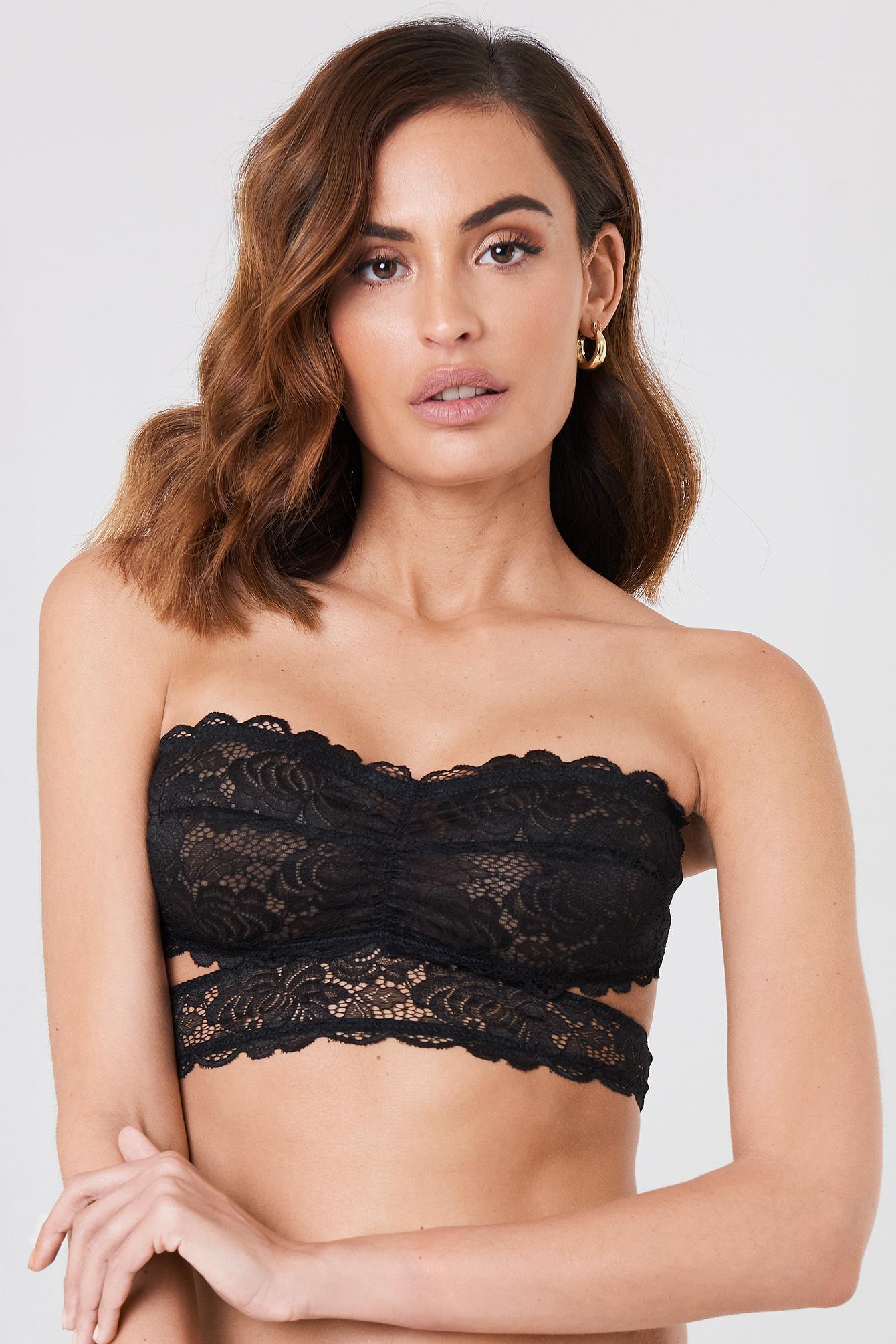 f2a05853419 NA-KD Lace Strap Bandeau Bra Black in Black - Save 56% - Lyst