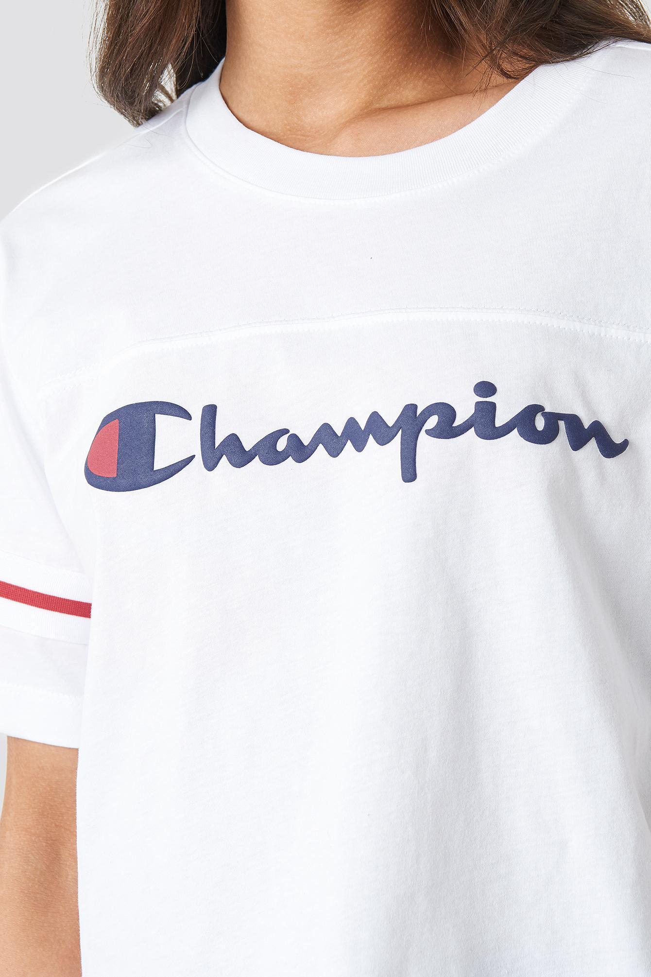 e95b4373d897 Champion - Crewneck Ss Croptop White - Lyst. View fullscreen