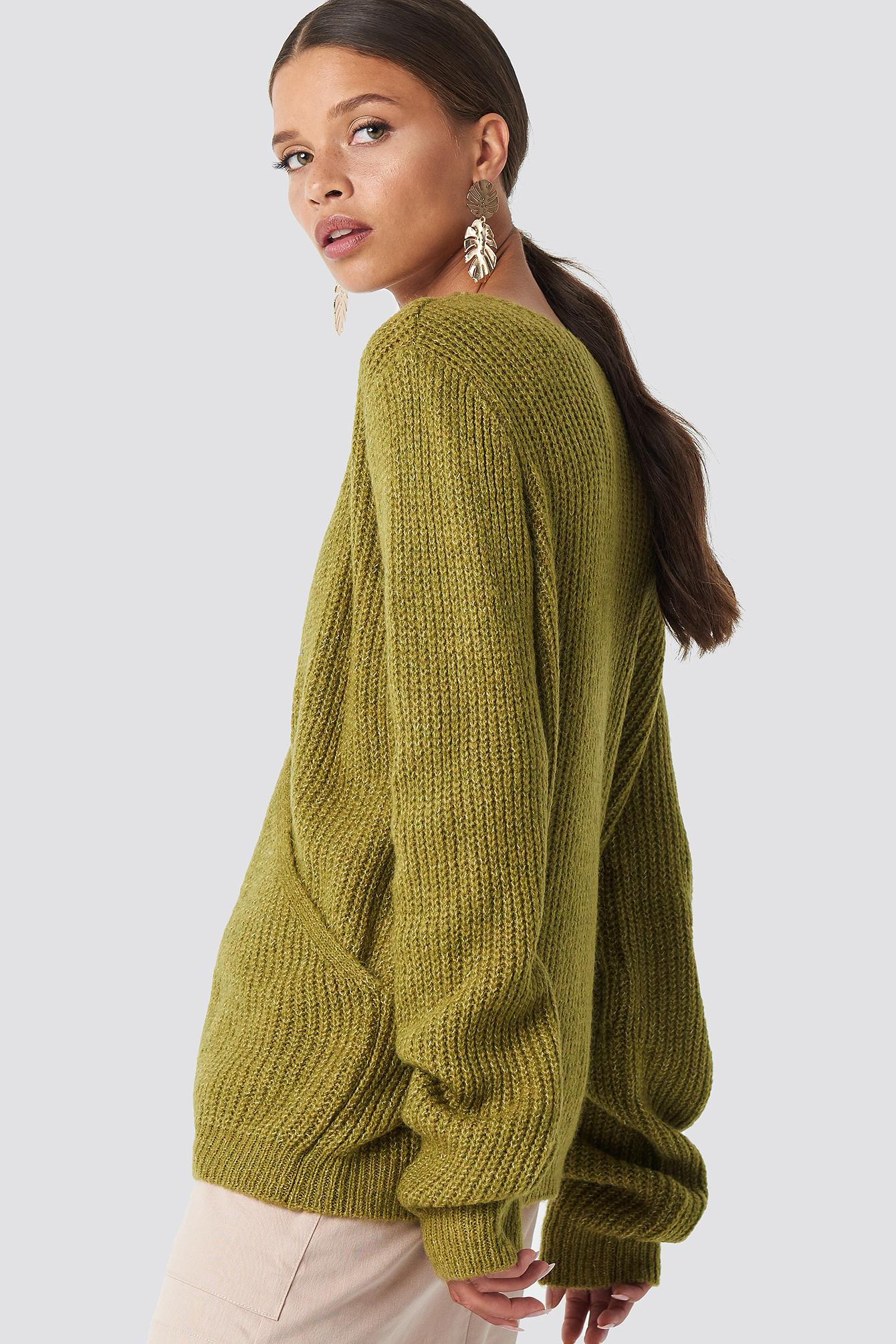 8f6823a7367400 Lyst - Trendyol Crossed Knitted Sweater Khaki