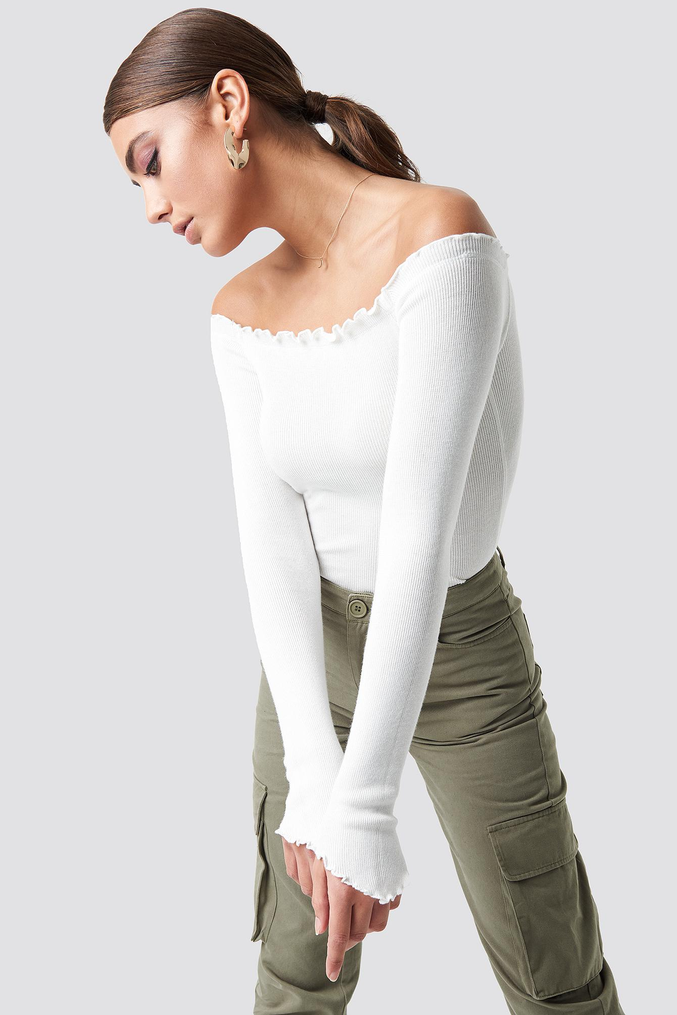 334669c018d Lyst - NA-KD Off Shoulder Light Knit Top White in White
