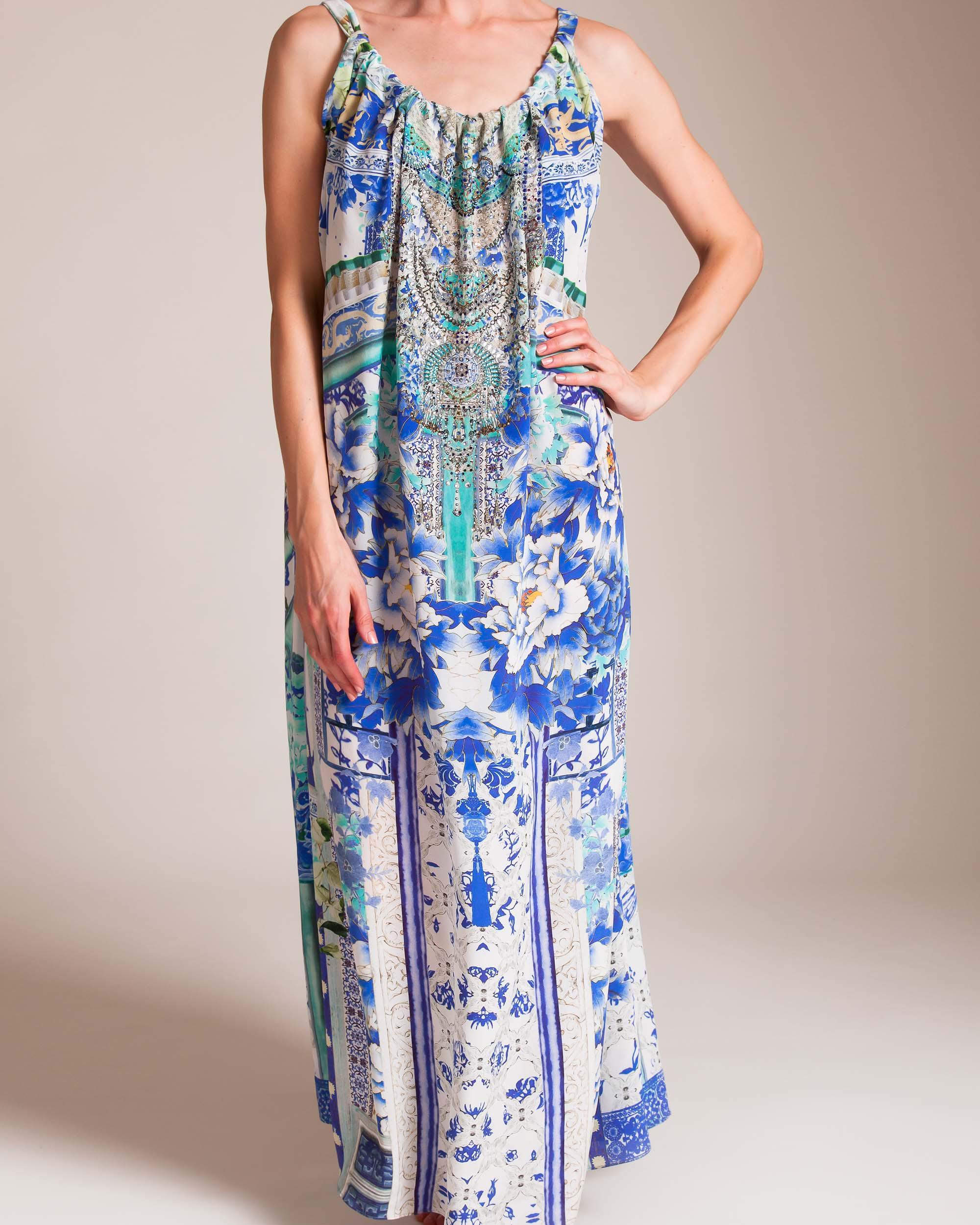 Lyst - Camilla Porcelain Paradise Drawstring Dress in Blue 44d7b71df40