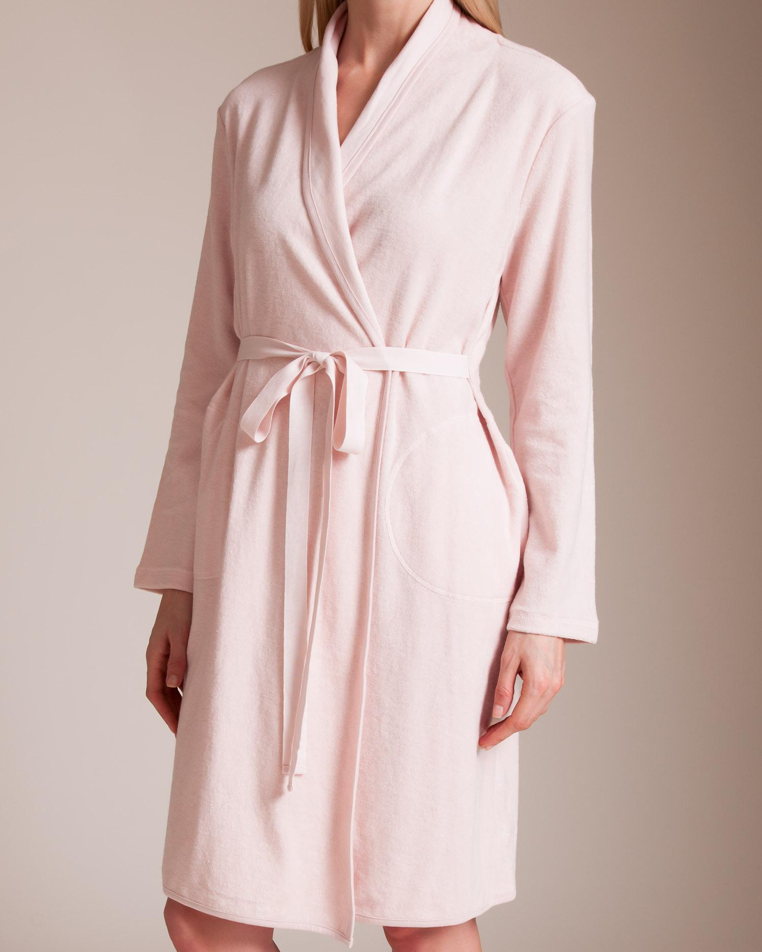 Lyst - Skin Micro French Terry Robe in Pink 2fdc67ea3