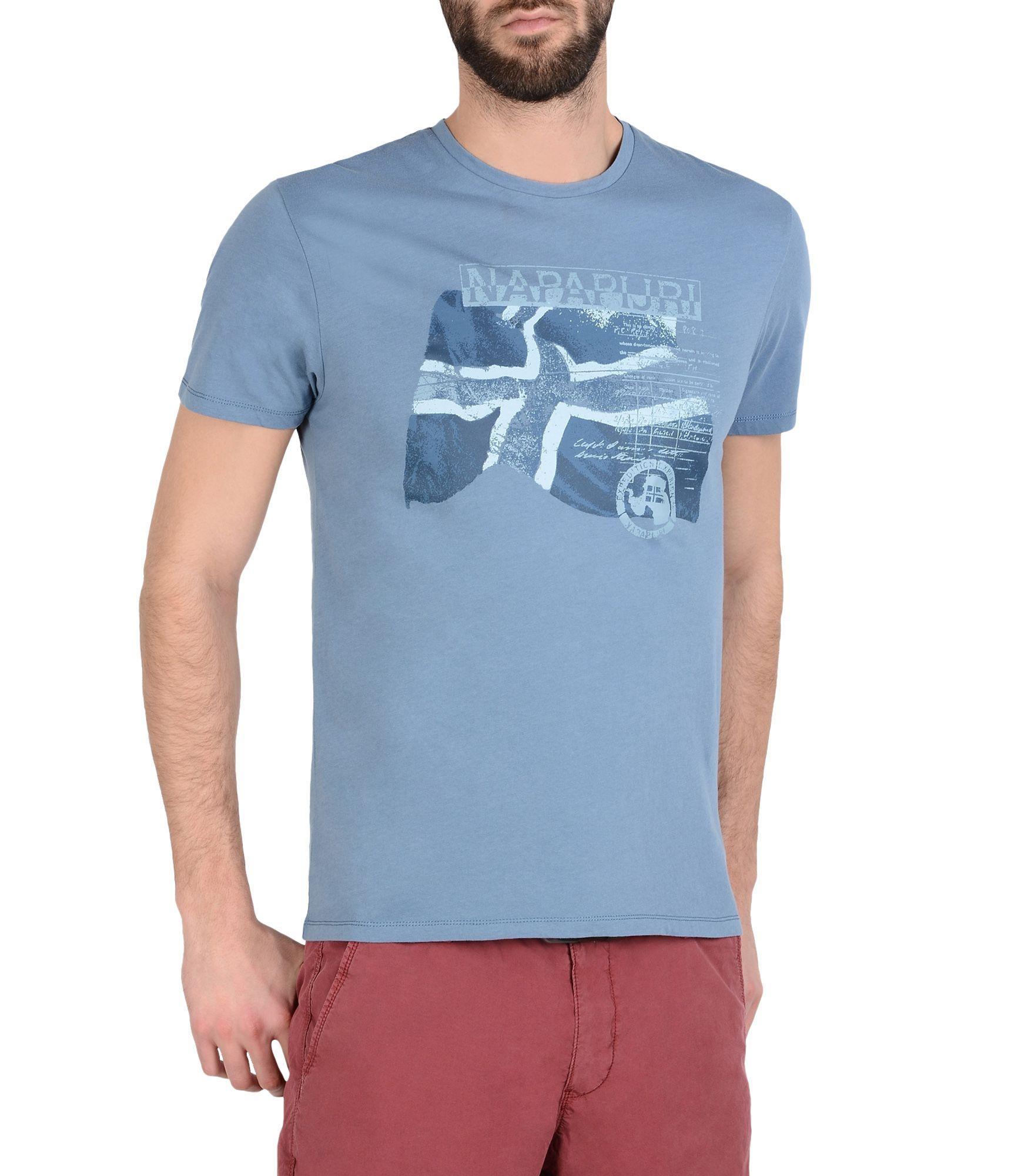 lyst napapijri short sleeve t shirt in blue for men. Black Bedroom Furniture Sets. Home Design Ideas