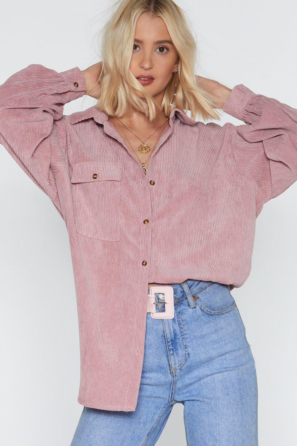 a939c6e4 Nasty Gal Easy There Oversized Corduroy Shirt in Purple - Lyst