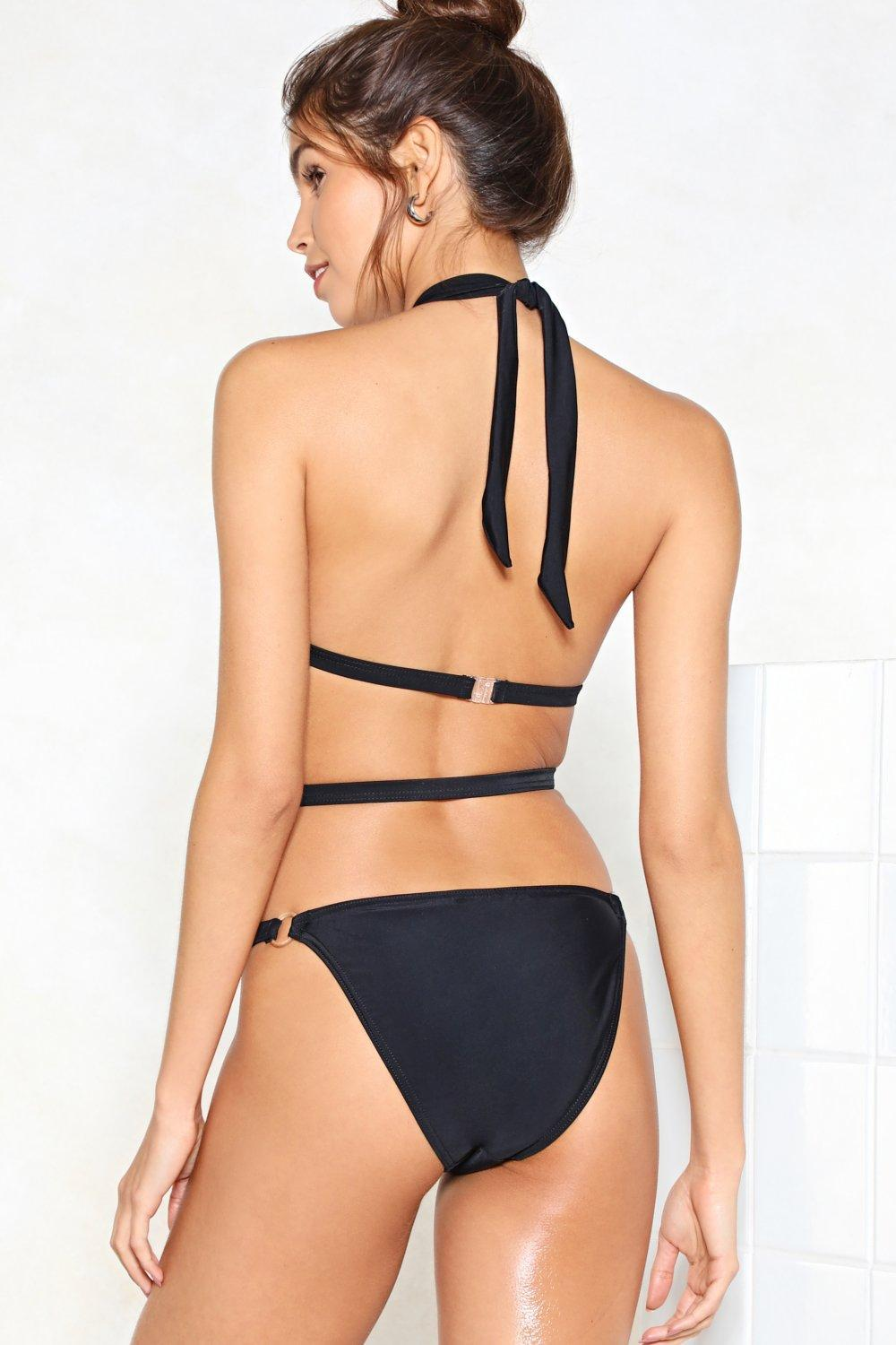 5d26c5224b Lyst - Nasty Gal What Rings You Here Strappy Swimsuit in Black