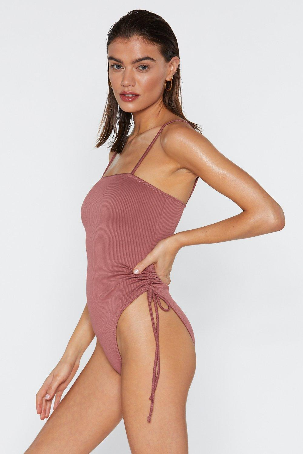5a9eb013a2 Lyst - Nasty Gal Who Mauve Ruched Swimsuit in Purple
