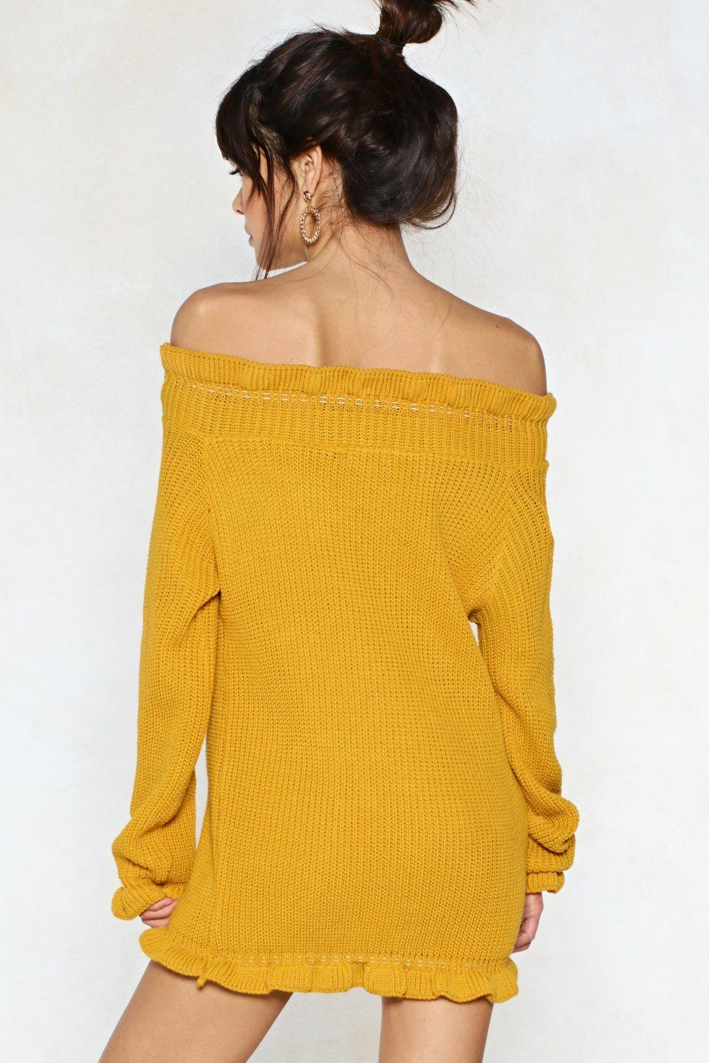 7b7f22e57 Nasty Gal Knit s Up To You Sweater Dress in Yellow - Lyst