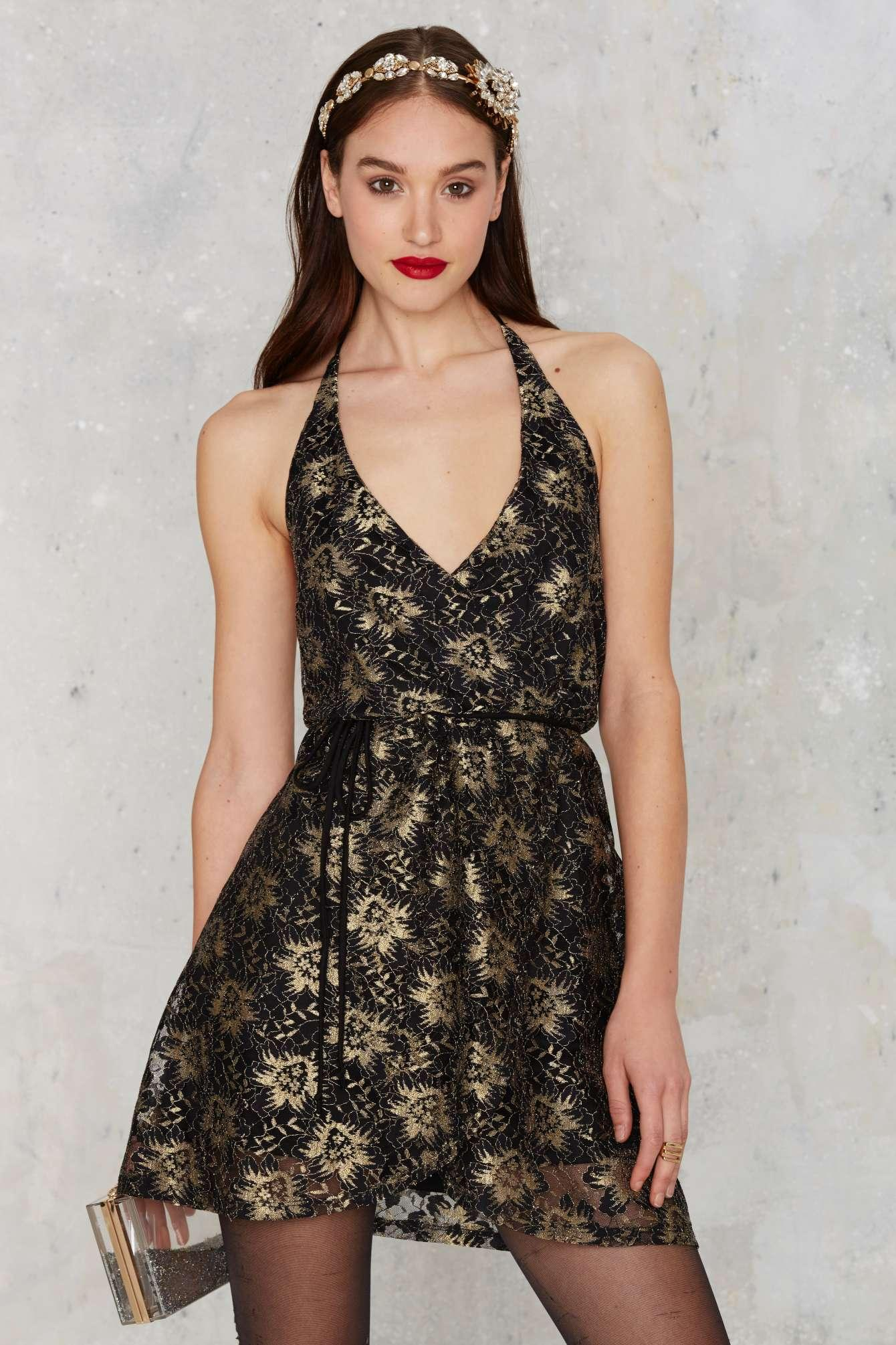Lyst - Nasty Gal After Party Vintage Pon De Floral Dress in Metallic d2ece516d