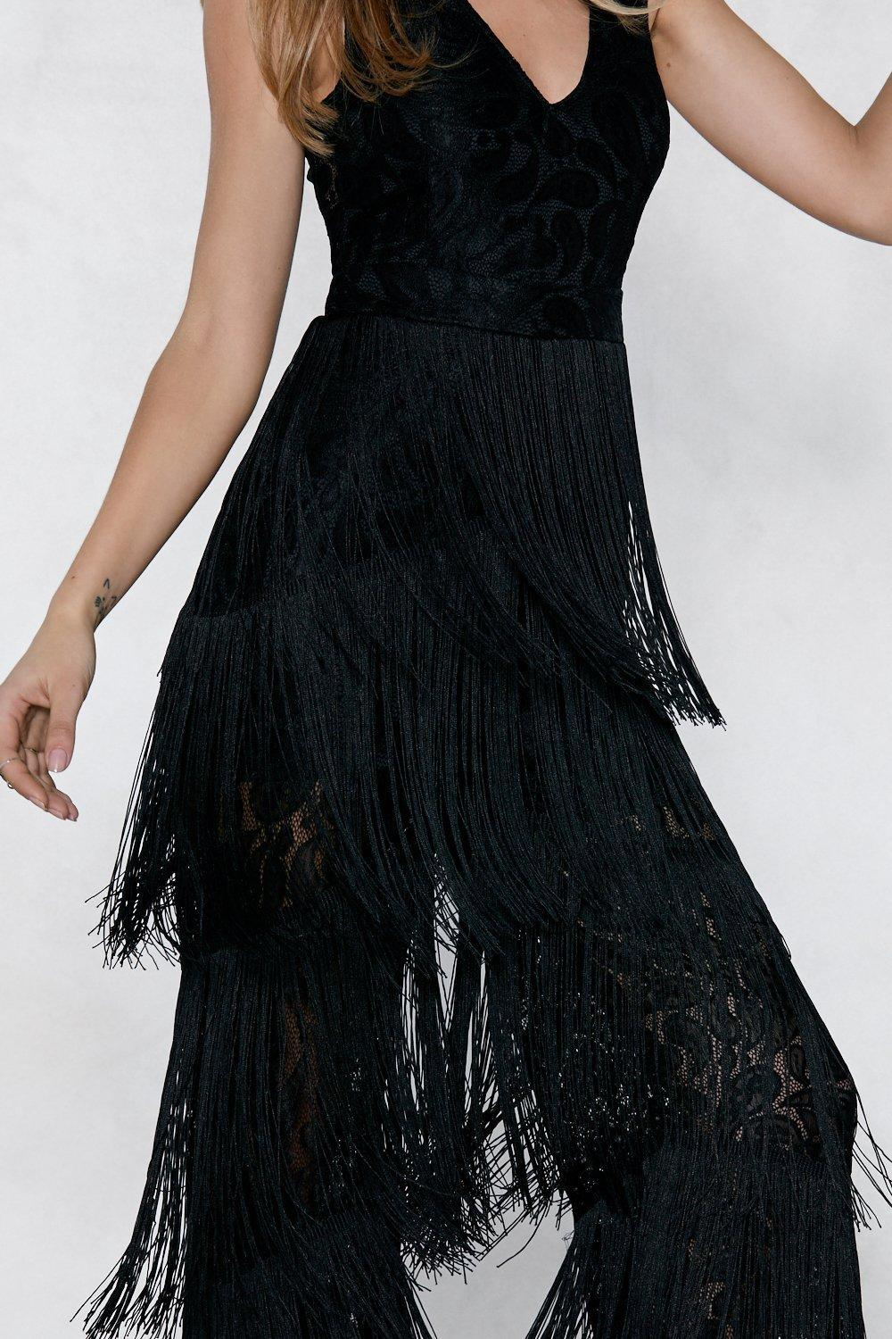 d32b0fc07a7 Lyst - Nasty Gal Lace Fringed Jumpsuit Lace Fringed Jumpsuit in Black