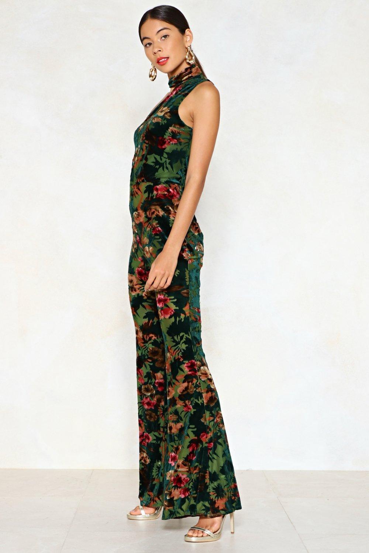 4eab01e9545 Nasty Gal How s It Growin  Velvet Jumpsuit in Green - Lyst