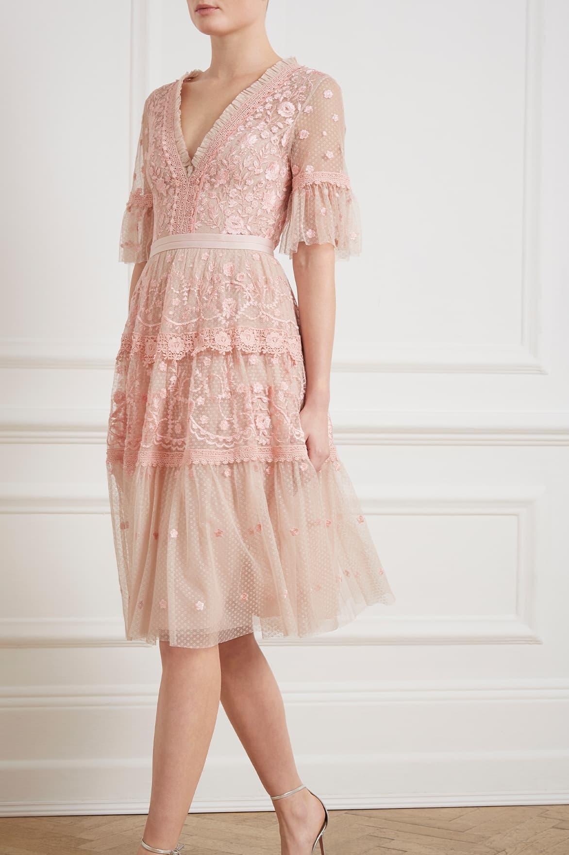 b209846d9322 Needle & Thread Midsummer Lace Dress in Pink - Lyst