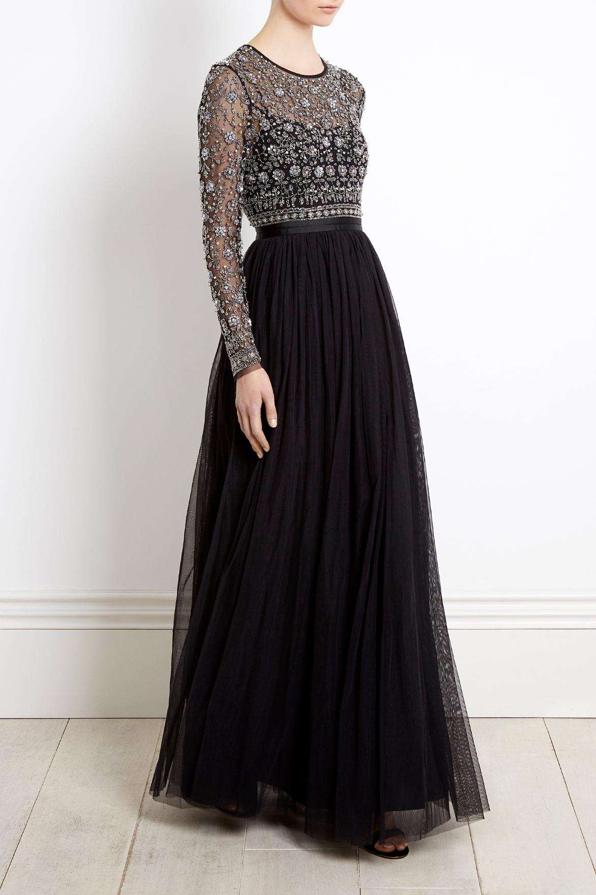 Needle Amp Thread Lace Andromeda Long Sleeve Maxi Dress In