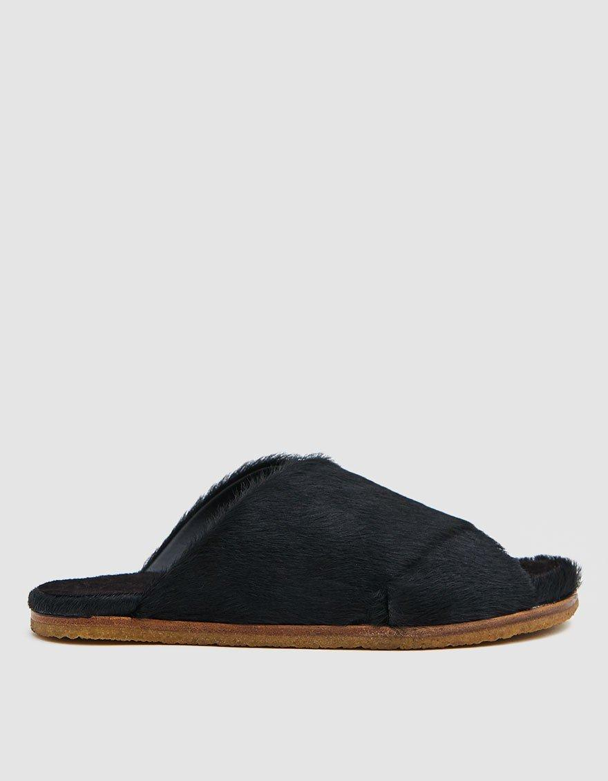 038ce8ce96 Dries Van Noten Hairy Open Toe Slide in Black for Men - Lyst